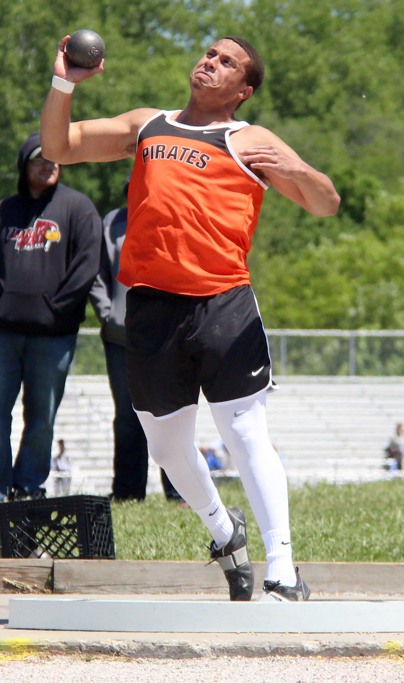 ROSS MARTIN/Citizen photo Platte County senior Christian Encarnacion strains during a shot put attempt Saturday, May 14 in the Class 4 District 8 meet held in Excelsior Springs, Mo.