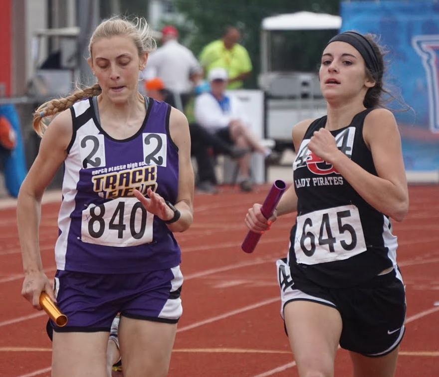 KERN SORRELL/Special to The Citizen North Platte senior Erin Manville, left, runs during a 4x400-meter preliminary Friday, May 21 during the Class 2 Missouri State Track and Field Championships at Jefferson City High School in Jefferson City, Mo.