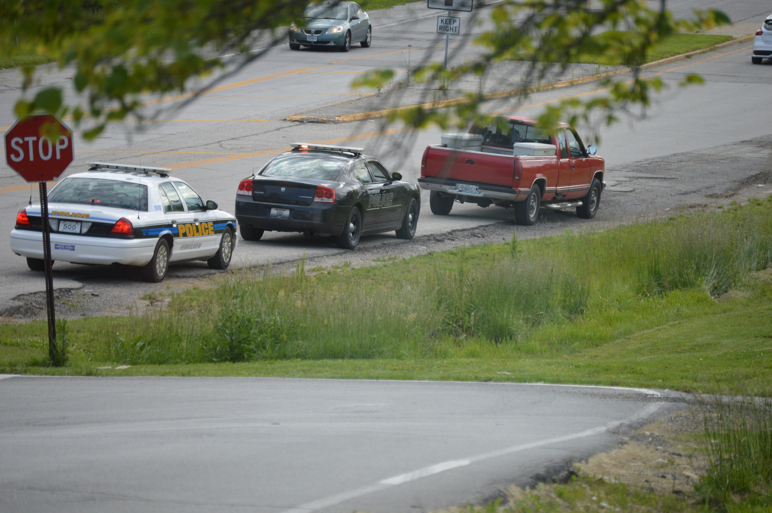 BRENT ROSENAUER/Citizen photo A Ferrelview Police Department officer conducts a traffic stop Saturday, May 21 in Ferrelview, Mo.