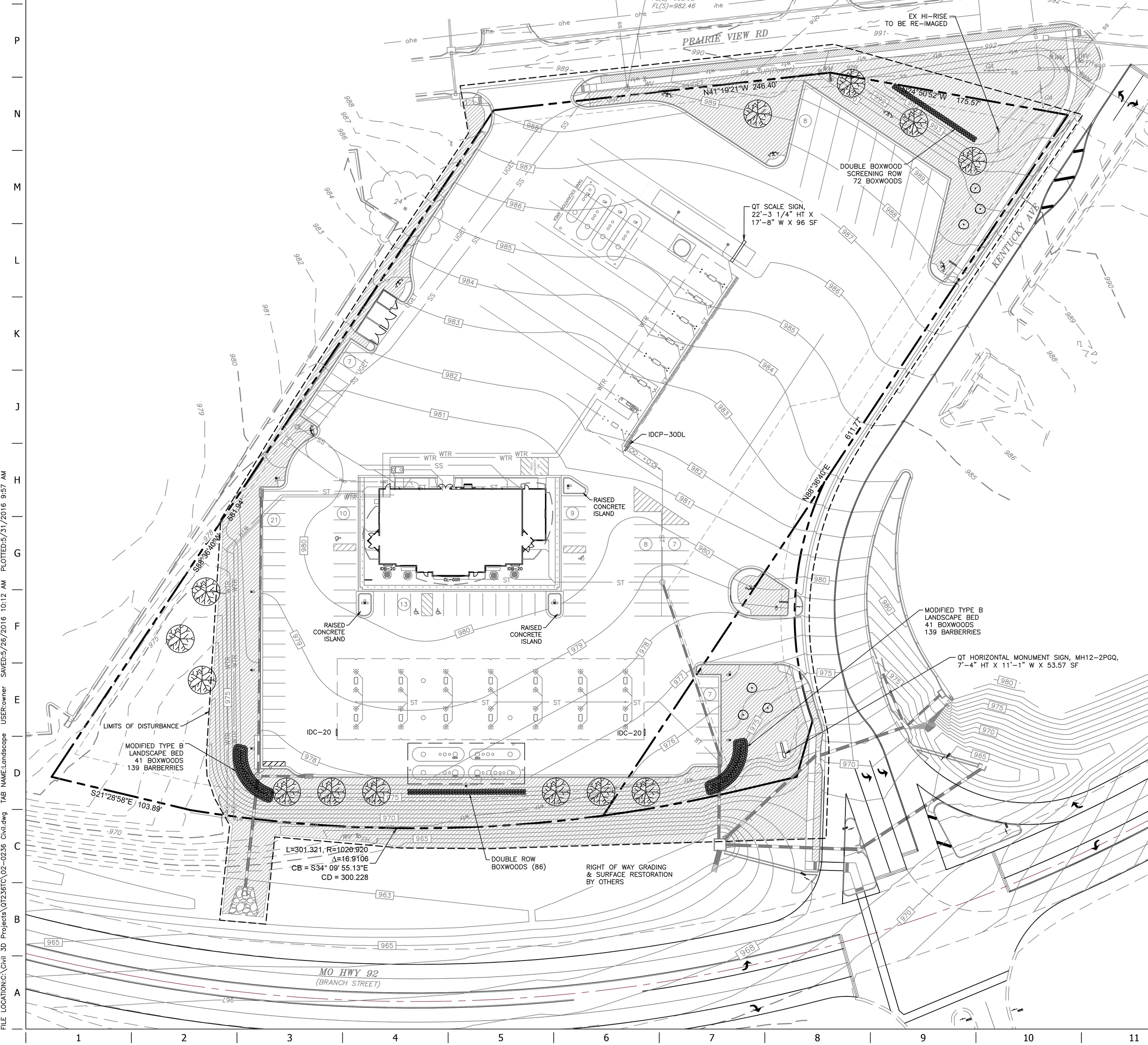 Contributed graphic This site plan for QuikTrip's new Generation 3 store in Platte City shows the building's new orientation. The front of the store will face Highway 92 (pictured at the bottom), while the truck parking, scales and pumps will be shifted to the east end of the lot along Prairie View Road (pictured at the top). The extension plans for Kentucky Avenue are detailed on the right side. Click for a larger version.
