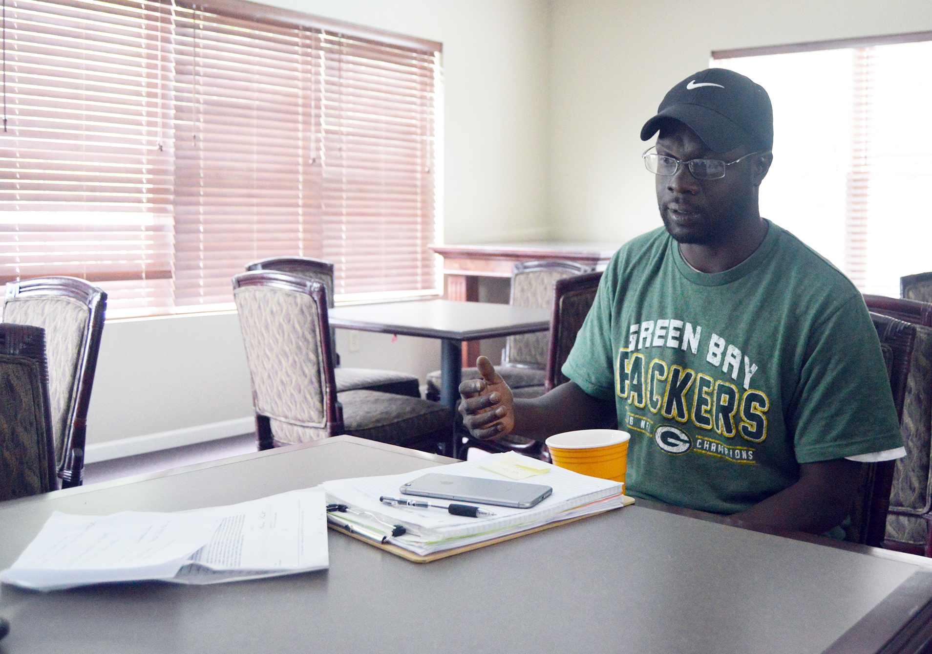 BRENT ROSENAUER/Citizen photo Derrick Hayes recently talked about his experiences with receiving nine citations from two different traffic stops in the Village of Ferrelview during the past year.