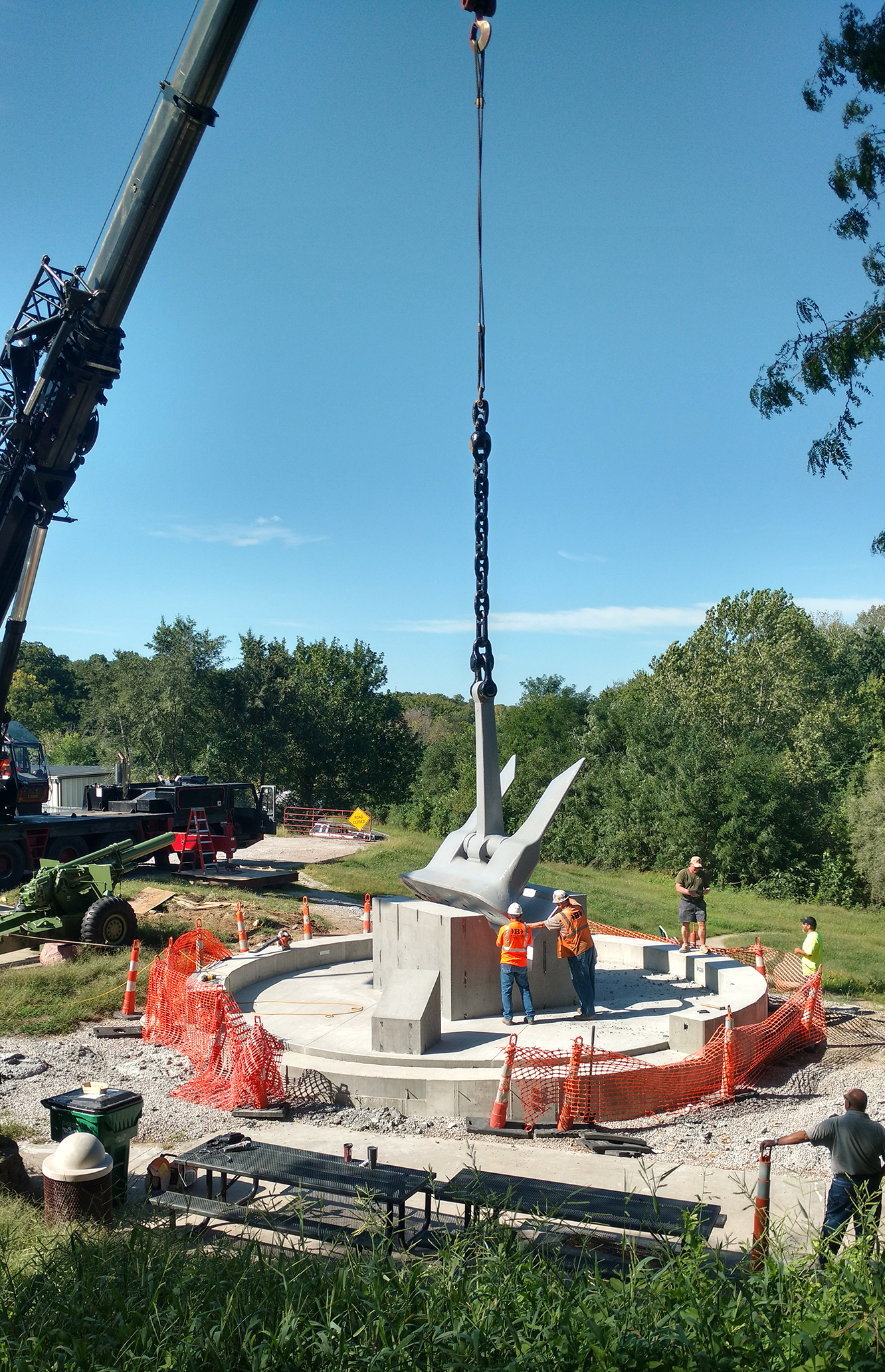 Contributed photo Workers with Belger Cartage Service and the Platte City Public Works Department set the anchor from the USS Platte into concrete Monday, Sept. 12. The anchor will be the center of a monument at Settler's Crossing Park in Platte City.
