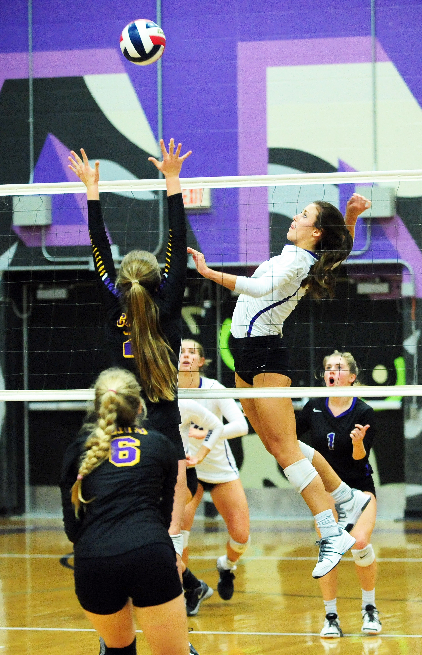 NICK INGRAM/Citizen photo Park Hill South senior Bri Bartosh (7) goes up for a spike in a match with Blue Springs on Thursday, Sept. 29 at Park Hill South High School in Riverside, Mo.