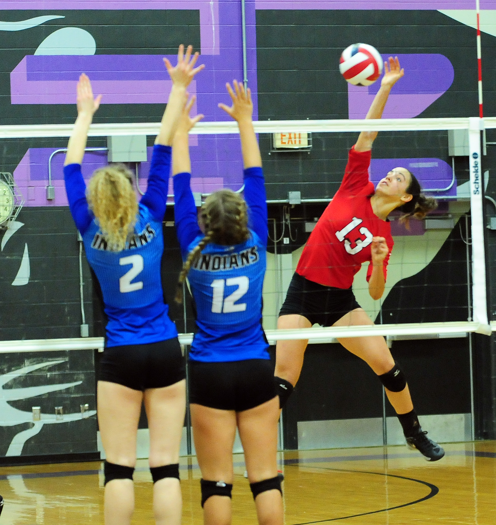 NICK INGRAM/Citizen photo Park Hill senior Chelsea Edwards hits a spike against St. Joseph Central in a Class 4 District 16 matchup Monday, Oct. 17 at Park Hill South High School in Riverside, Mo.