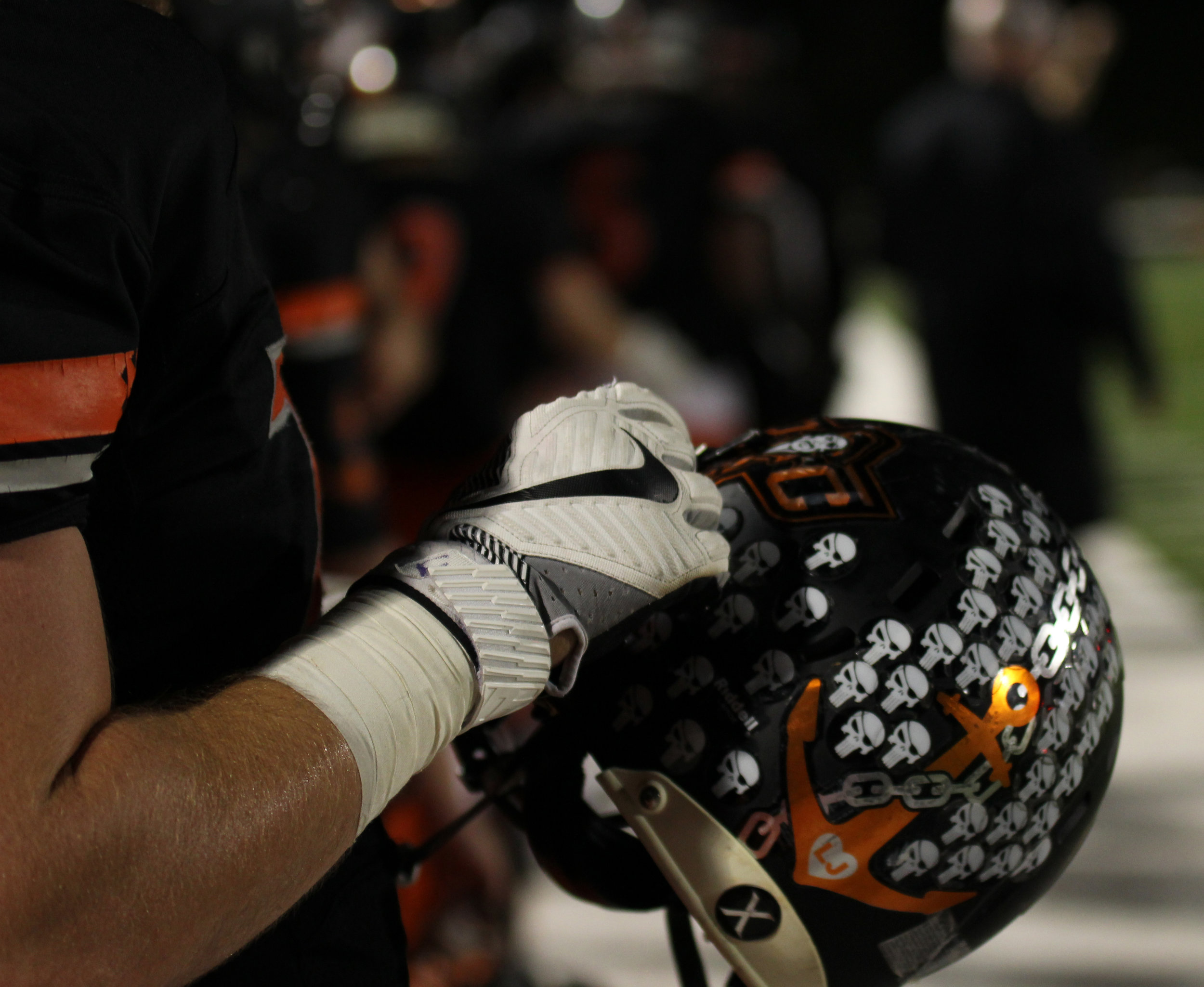AMANDA SULLIVAN/Special to the Citizen Platte County's football players have worn a decal with Landon Jaros' initials at the base of anchor the entire season. Landon died last week at the age of four due to complications from cancer.