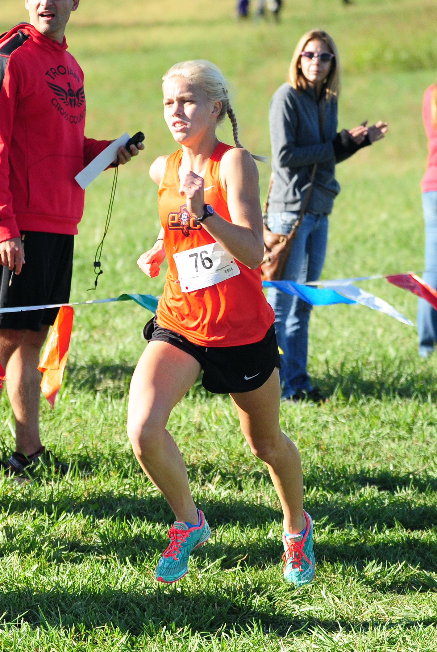NICK INGRAM/Citizen photo Platte County junior Rebekah Geddes approaches the finish line on her way to winning the Class 4 District 8 race Saturday, Oct. 22 at Platte Ridge Park just outside of Platte City. The Pirates finished fourth as a team.