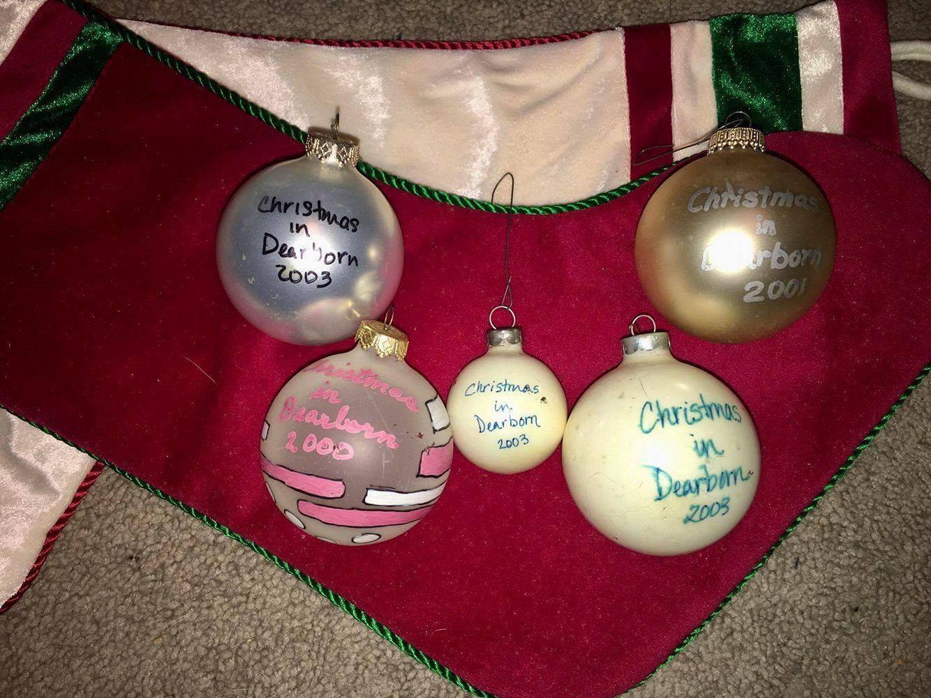 Contributed photo Nicole Otto still uses hand-painted Christmas ornaments she collected as a kid during Christmas in Dearborn celebrations.