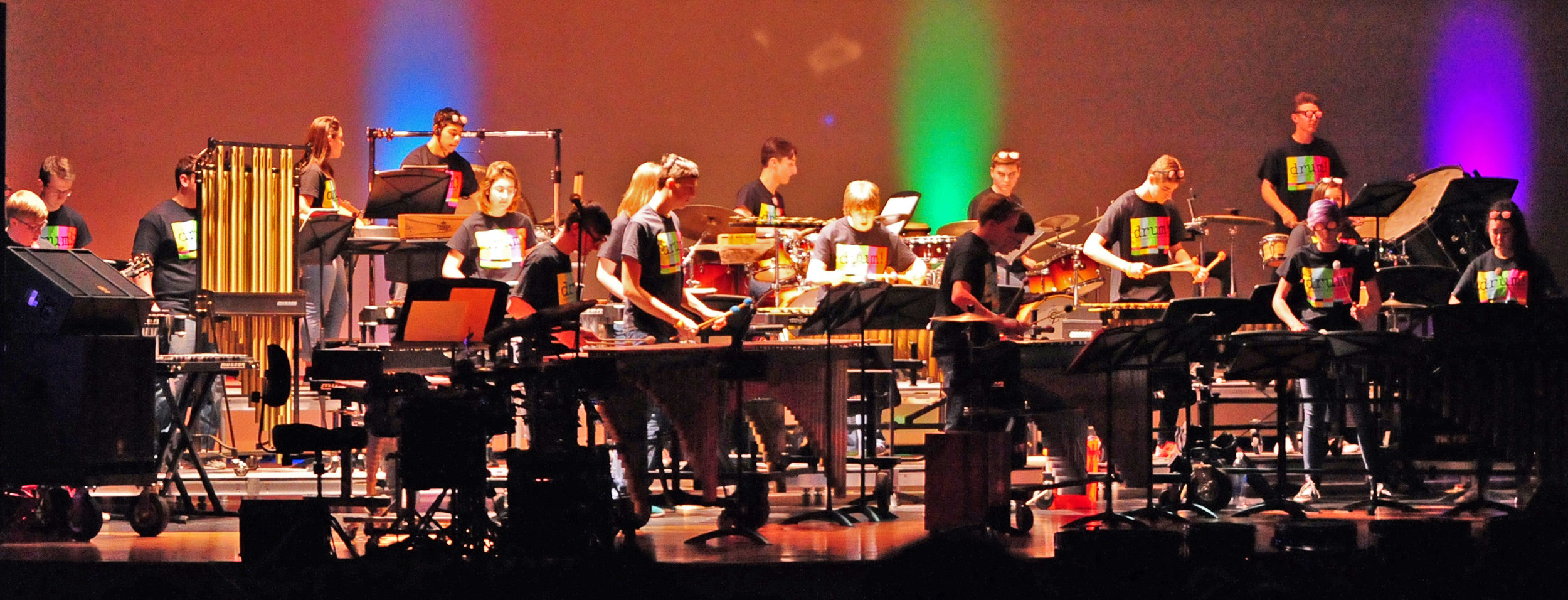 NICK INGRAM/Citizen photo Percussionists perform the opening number during the drum! Platte County Percussion Showcase held Friday, May 5 in the Wilson Center for the Performing Arts at Platte County High School. Students participating ranged from sixth graders to seniors.