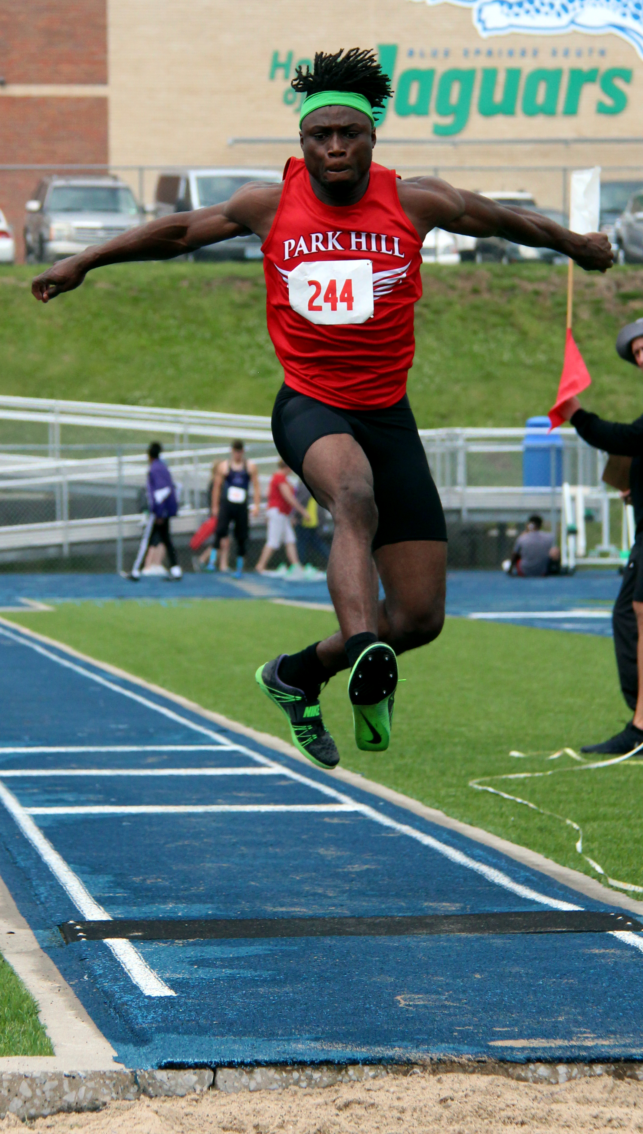 ROSS MARTIN/Citizen photo Park Hill senior Papay Glaywulu approaches the pit in the triple jump during the Class 5 Sectional 4 meet Saturday, May 20 in Blue Springs, Mo.