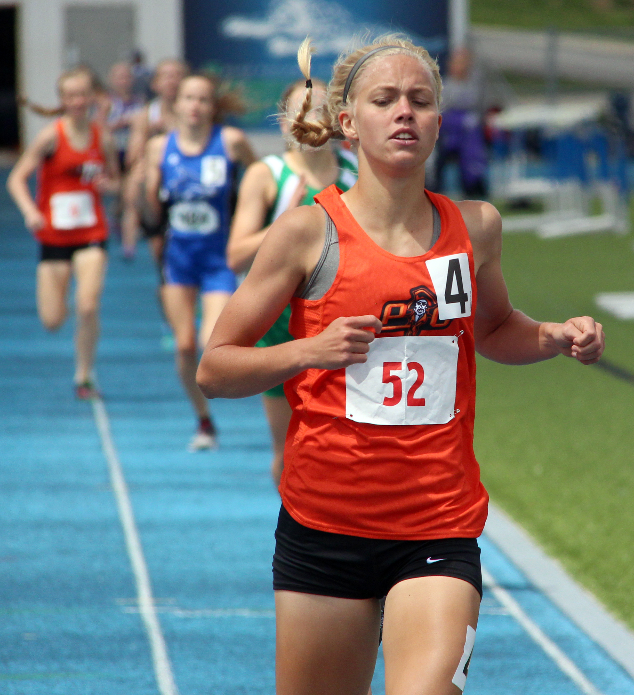 ROSS MARTIN/Citizen photo Platte County junior Rebekah Geddes finishes ahead of the pack in the Class 4 Sectional 4 800-meter run Saturday, May 20 in Blue Springs, Mo.