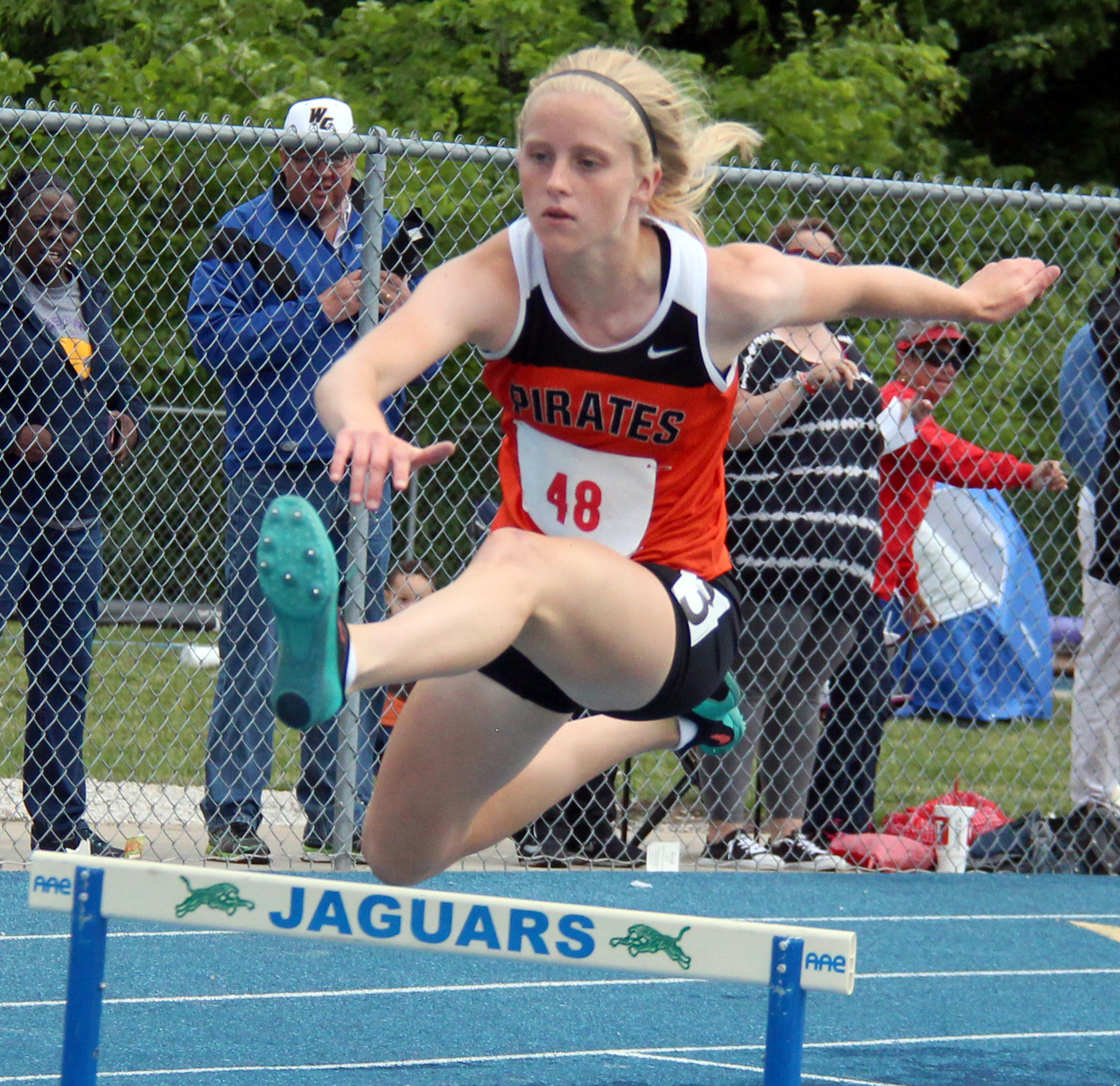 ROSS MARTIN/Citizen photo Platte County freshman Rebekah Geddes competes in the 300-meter hurdles race during the Class 4 Sectional 4 meet Saturday, May 20 in Blue Springs, Mo.