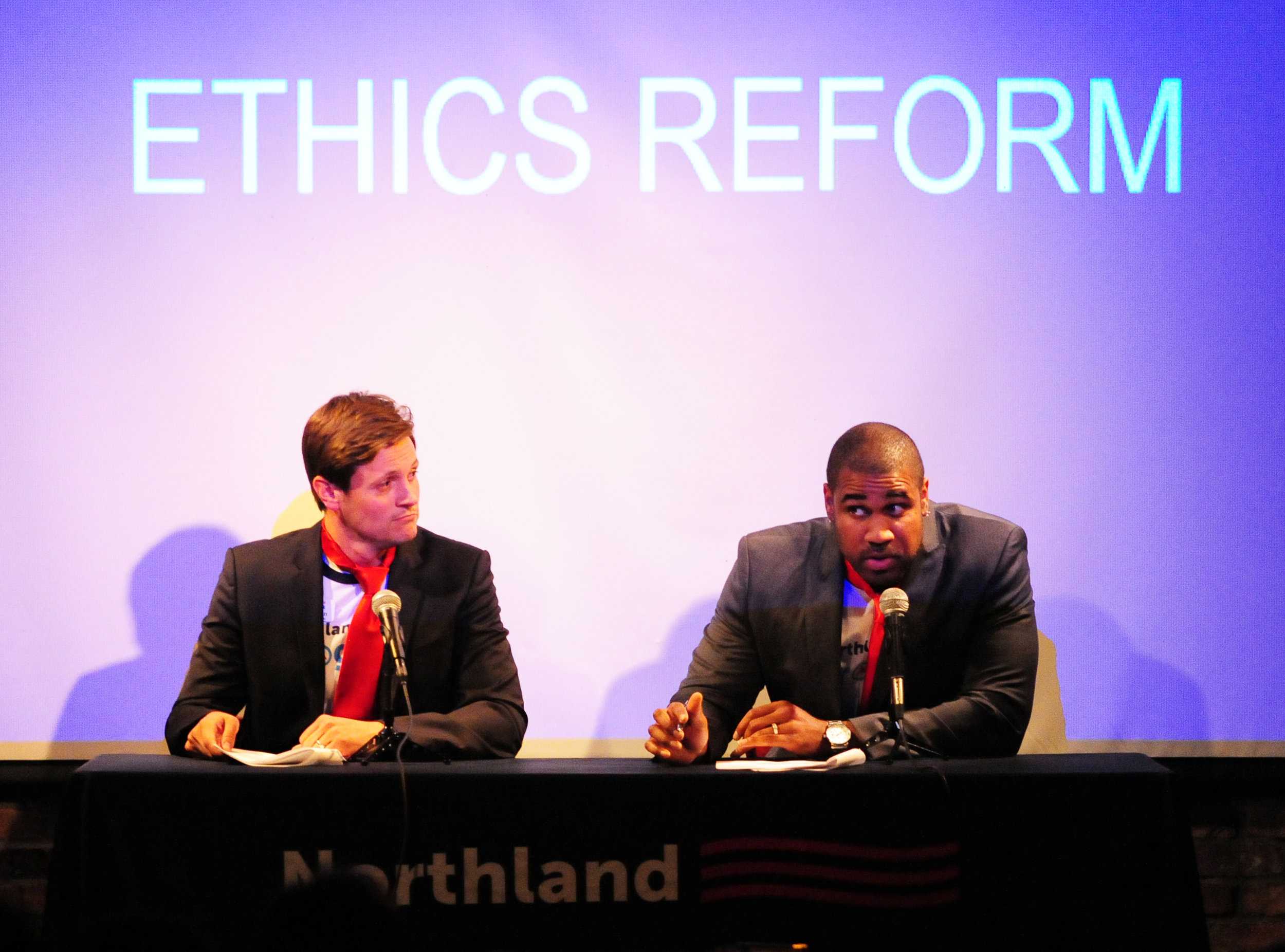 """NICK INGRAM/Citizen photo Northland Progress president Blake Green (left) and vice president Martin T. Rucker II (right) used comedy to give a review over the recent Missouri State legislature session during their show """"MO Sessions, MO Problems"""" held Wednesday, May 24 at the Improv Comedy Club in Kansas City, Mo."""
