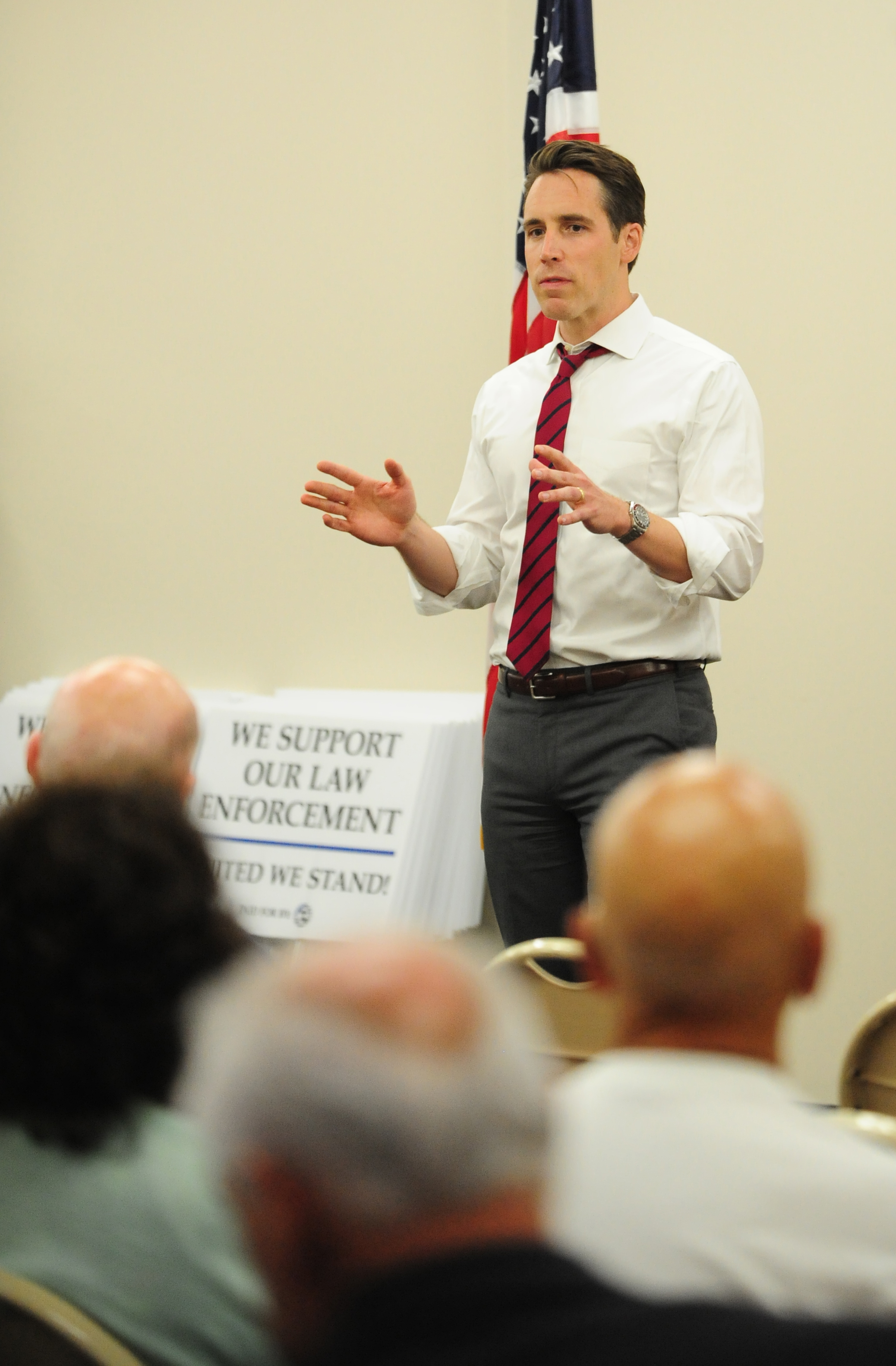 NICK INGRAM/Citizen photo The Missouri Attorney General Josh Hawley speaks on matters that affect the state of Missouri and the nation during the Platte County Lincoln Day: Salute to Law Enforcement on Monday, June 19 at the Platte County Community Center South in Parkville, Mo.