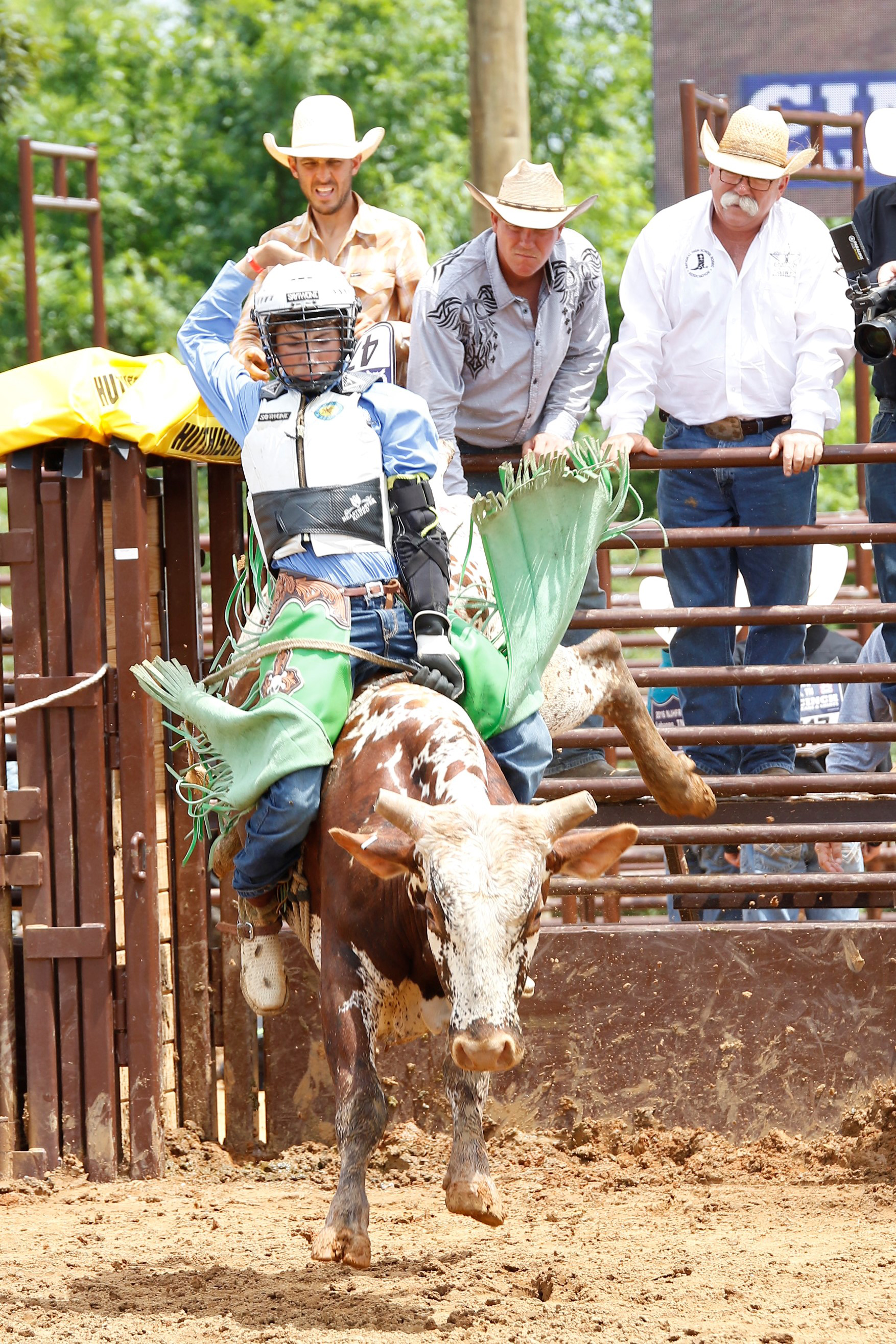 Contributed photo Koltin Hevalow, seen here during a recent junior bullriding competition, has won three rodeo world titles over the past decade. He will be a freshman at Platte County High School this year.