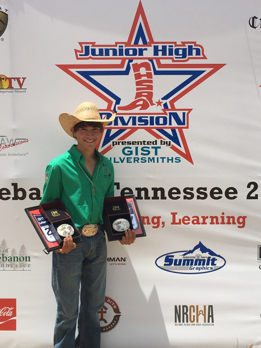 Contributed photo Koltin Hevalow recently traveled to Lebanon, Tenn. for the National High School Rodeo Association's Junior High Division world championships. He won numerous awards, including a world title in junior bull riding.