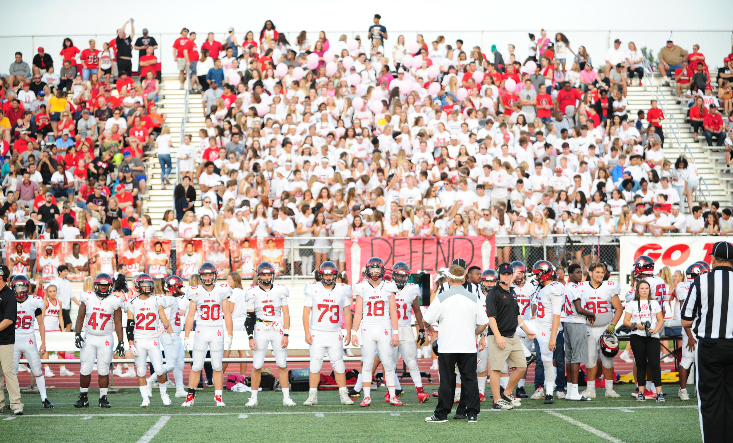 NICK INGRAM/Citizen photo The Park Hill football team waits to begin their game against Park Hill South at a crowded Park Hill District Stadium on Friday, Sept. 1 in Kansas City, Mo. For more on this and other games, see the Sports Weekly section starting on page 7.