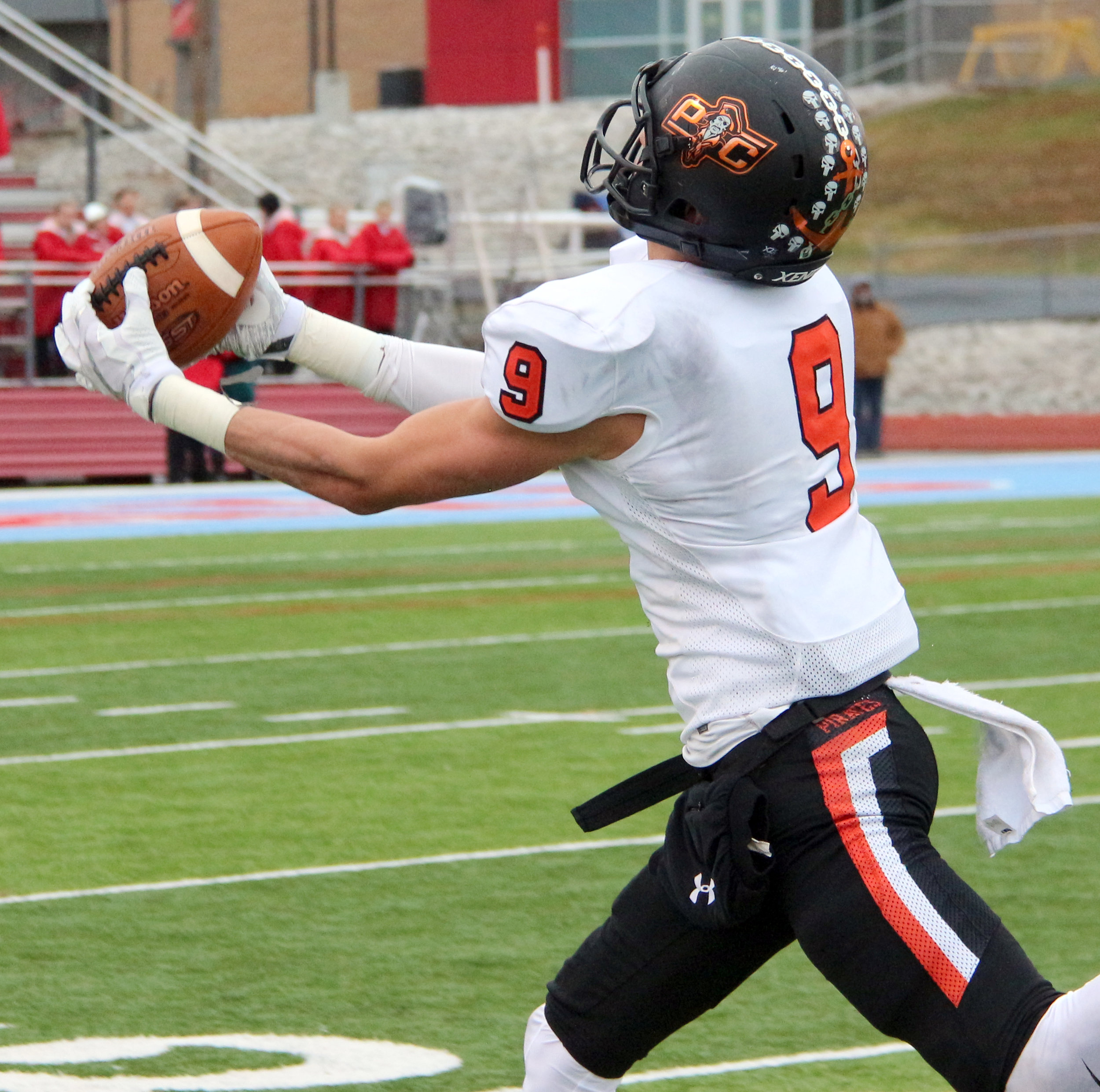 ROSS MARTIN/Citizen photo Platte County junior wide receiver Dylan Gilbert makes an over-the-shoulder catch in the second quarter against Webb City on Saturday, Nov. 18.