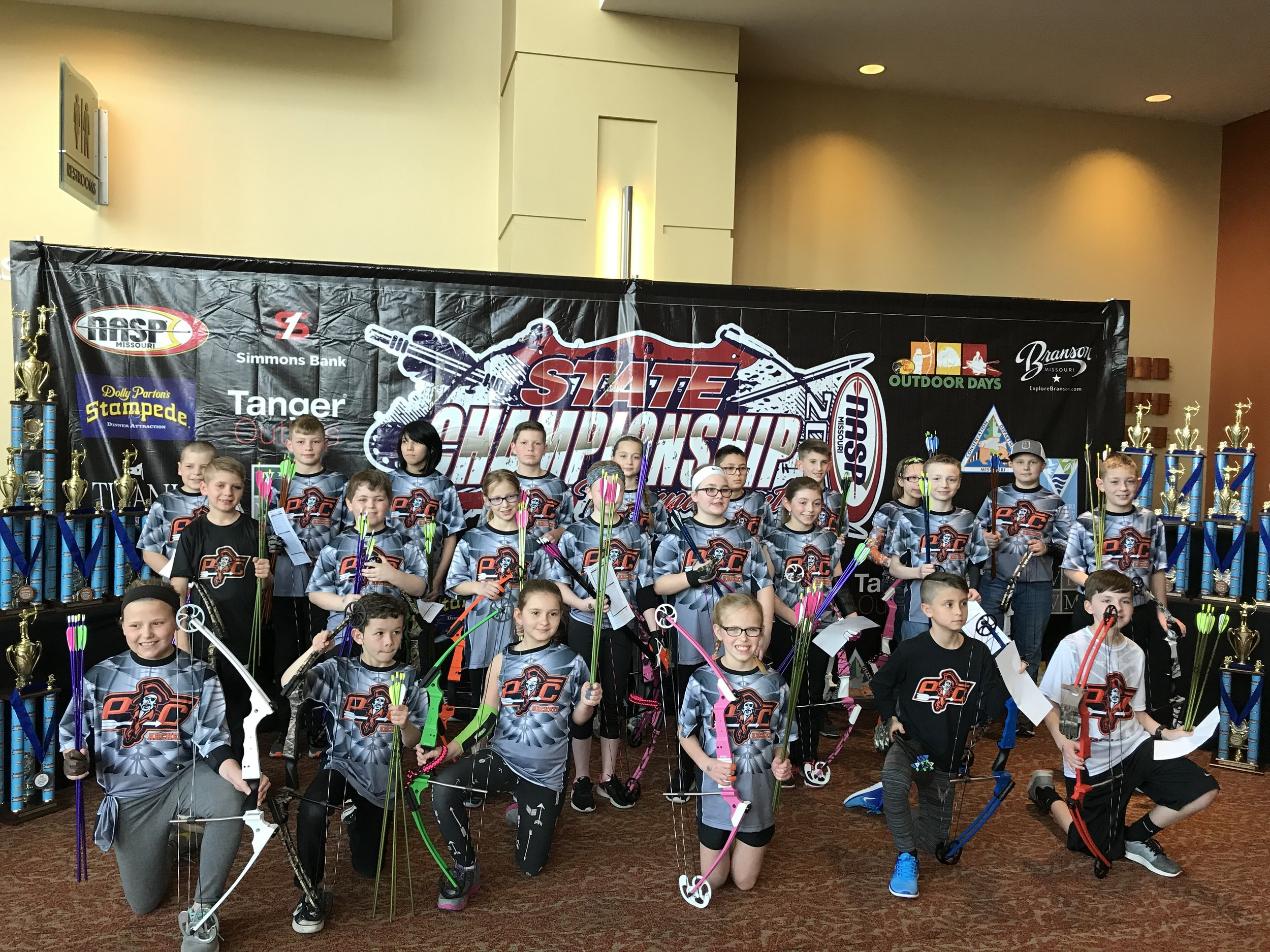 Contributed photo Platte County's Compass Elementary won the MoNASP 3D Tournament archery state championship this past weekend in Branson. The team also had the individual champion in the event as Porter Campbell had the highest score in the boys division.