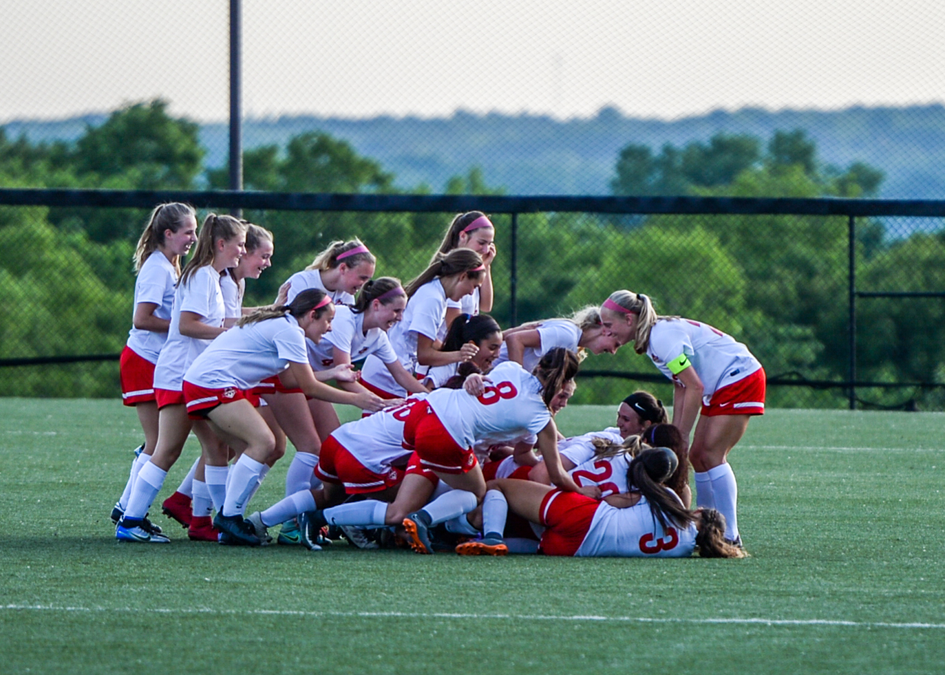 TODD NUGENT/Special to the Citizen The Park Hill girls soccer team celebrates after picking up a victory against St. Teresa's Academy in a Class 4 quarterfinal game on Saturday, May 26 at the Park Hill District Soccer Complex in Riverside, Mo.