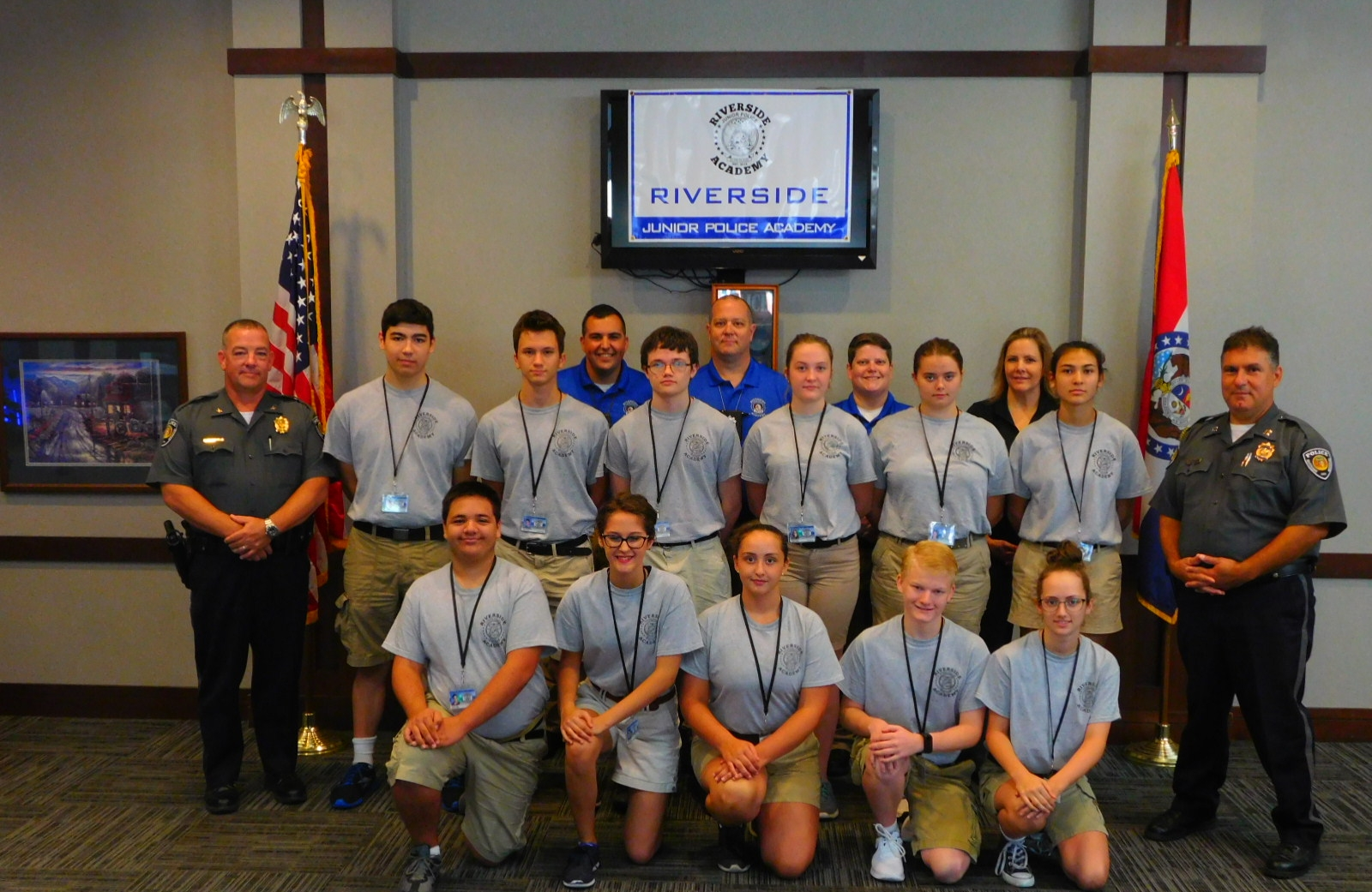 Contributed photo The first Riverside Junior Police Academy Class posed for a photo on the final day of classroom training. The group included front row, from left: Trevor Hall, Chloe Morales, Alanie Hacker, Conner Addington, Clara Lazen; second row, from left, Riverside Police chief Chris Skinrood, John Tovar, Nathan Stump, Thomas Marple, Nicole Wilson, Kyra Rawlings, Isabel Fabian, captain Mike Costanzo and back row, from left, officer Noah Gibler, officer Matt Westrich, corporal Cari Terpening and Holly Phillips.