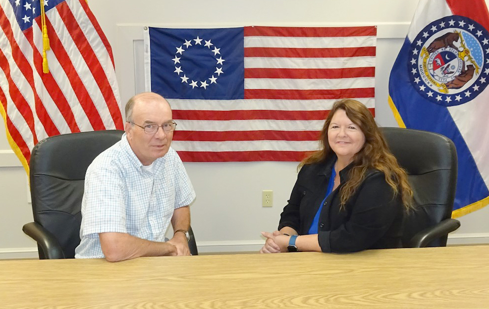 Contributed photo Lynda Hacker-Bristow, right, will serve as Platte City's interim police chief during an internal review. Mayor Frank Offutt also pictured.