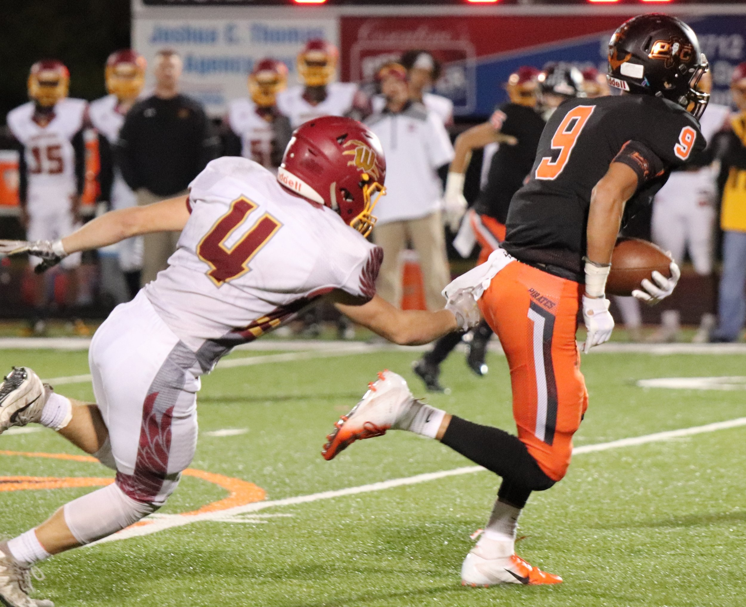 ROSS MARTIN/Special to the Citizen Platte County's Dylan Gilbert, right, became the school's all-time leader in receiving yards on Friday, Oct. 26 vs. Winnetonka.