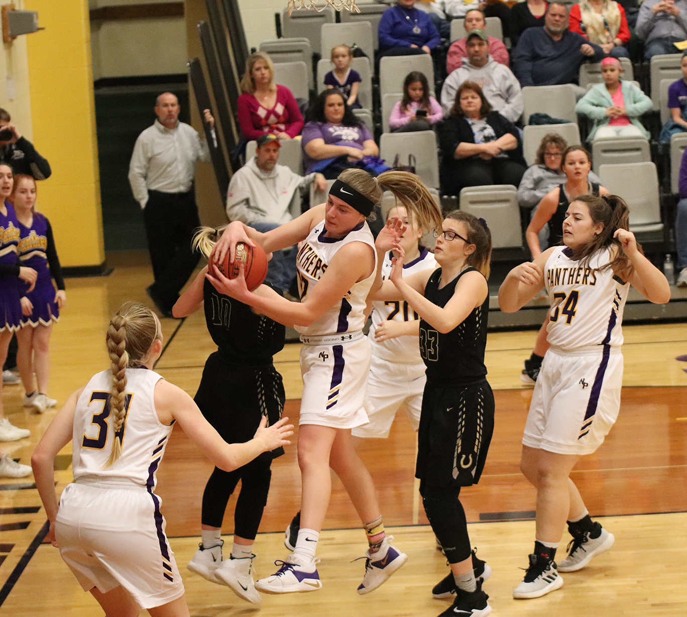 CODY THORN/Citizen photo  North Platte's Grace Rice grabs a rebound in a game against Lathrop on Thursday, Jan. 17.