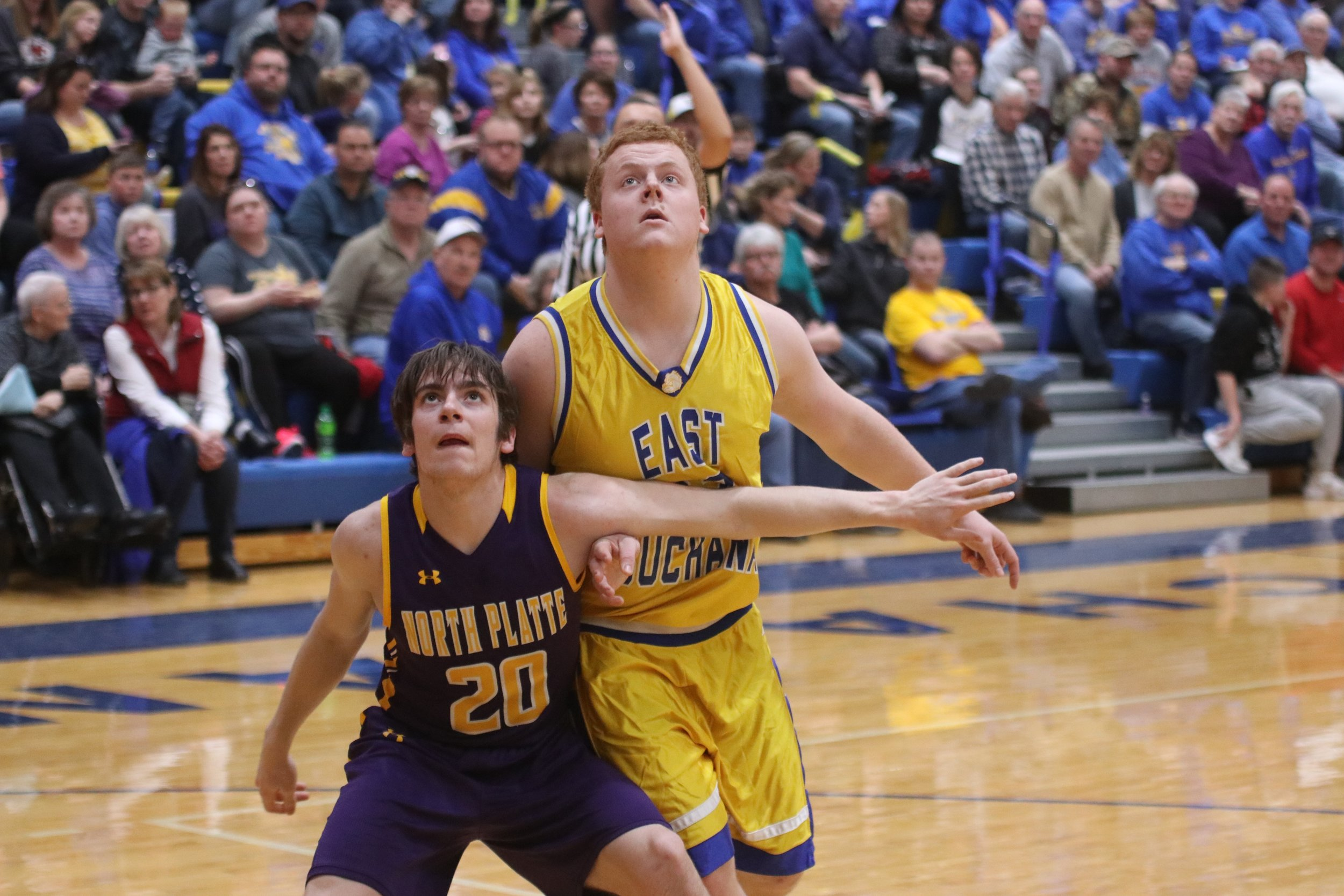 CLINTON COUNTY LEADER/Special to the Citizen  North Platte's Ty French, left, gets position against an East Buchanan player during a game on Friday, Feb. 1 in Gower, Mo.