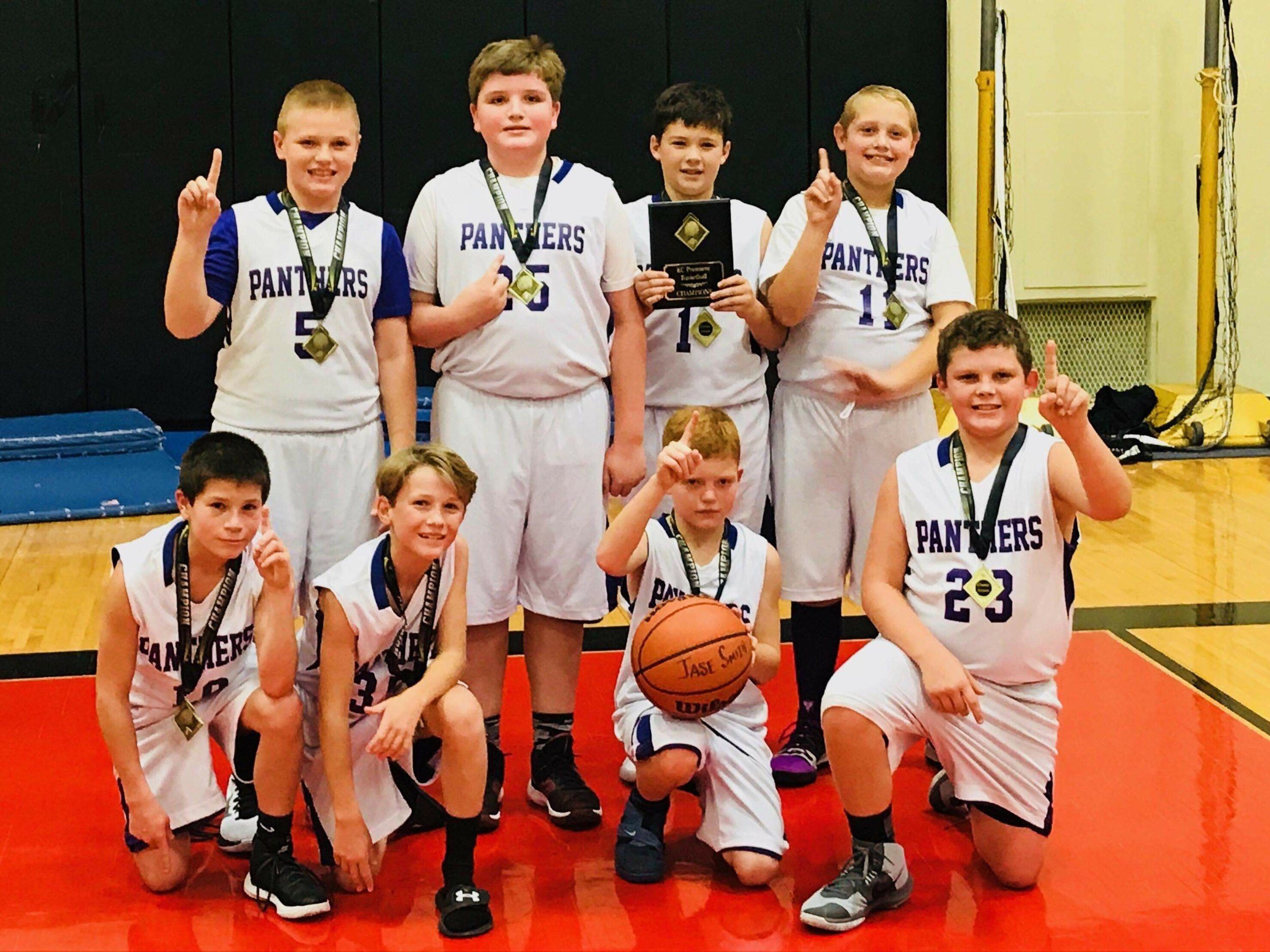 Submitted photo  The North Platte fifth-grade basketball team won first place at Hoopstock held Jan. 25-27 in Savannah. The tournament title pushed the team's record to 16-5. Pictured are, front row from left: Gus French, Collin Kersten, Jase Smith and Parker Seckel. Back row from left: Dylan Armstrong, Spencer Hyde, Brenden Matt and Chase Harper. The team is coached by Karl Matt and Emilee Buckler.