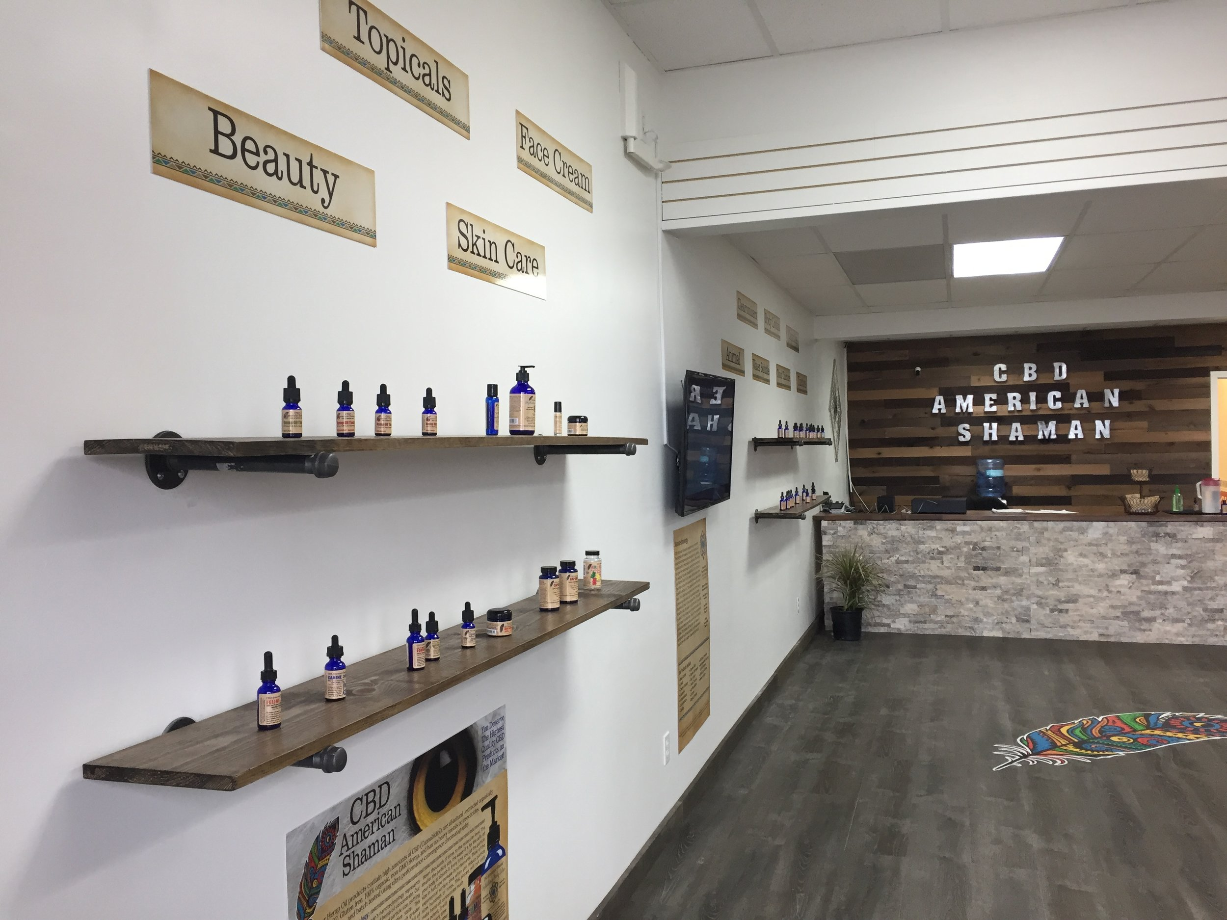 Contributed photos American Shaman in Platte City offers a full range of CBD products, including Roasterie coffee infused with 10 mg of CBD. The open format of the store will allow space for future educational events and growth. Products include oils, ointments, gummies and products for pets as well as beauty products.