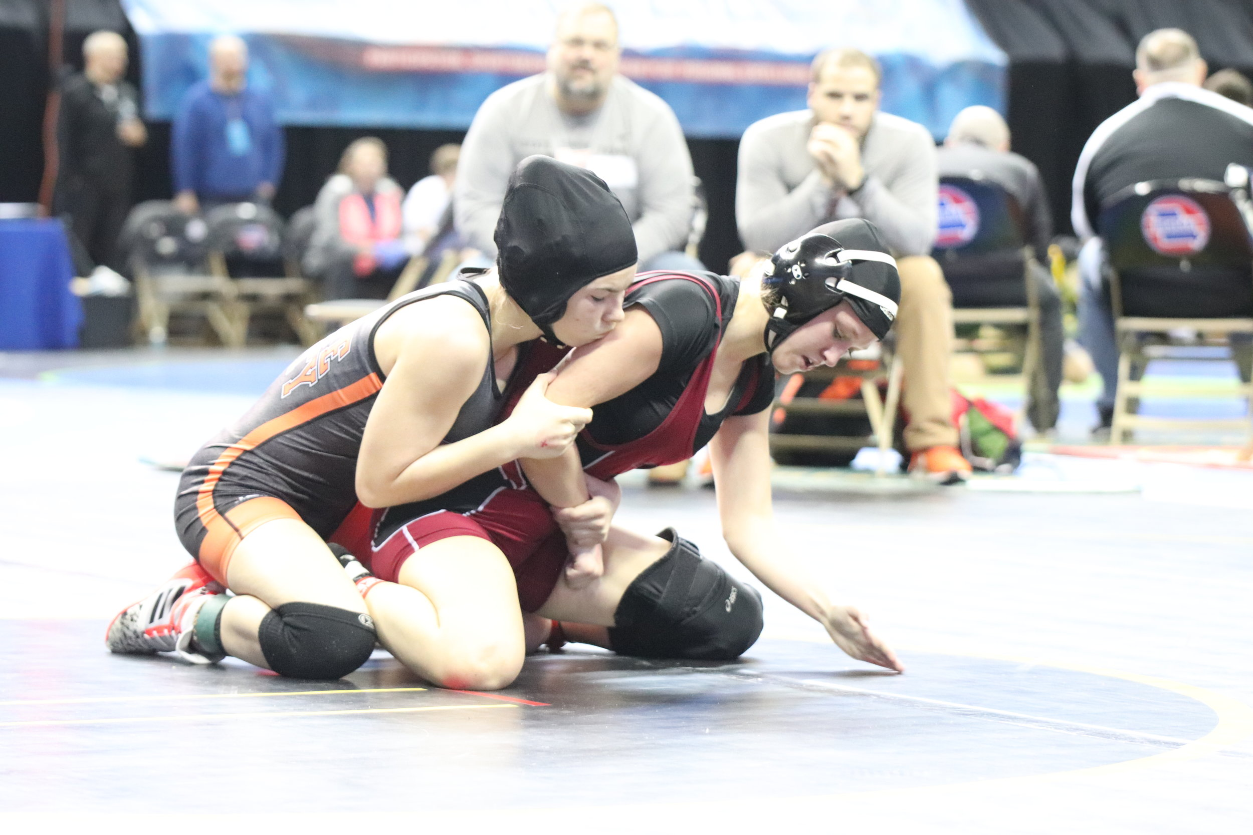 CODY THORN/Citizen photo  Platte County's Avery Krahenbill, left, battles Rockwood Summit's Lillian Wallis in the first round of the state tournament.