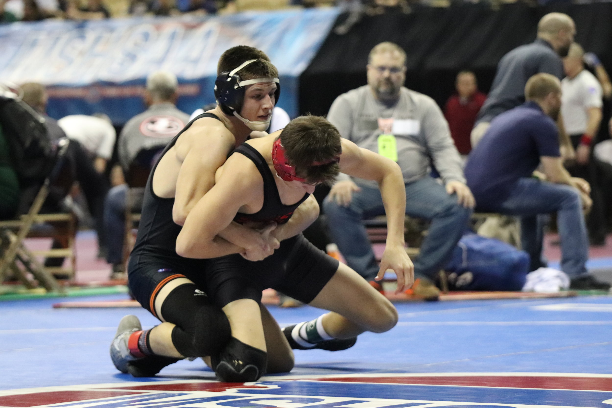 Platte County's Nick Filger picked up a 10-5 win against Sikeston's Josh Rishton (right) during the first round of the Class 3 MSHSAA Wrestling Championships on Thursday, Feb. 14 in Columbia, Mo.