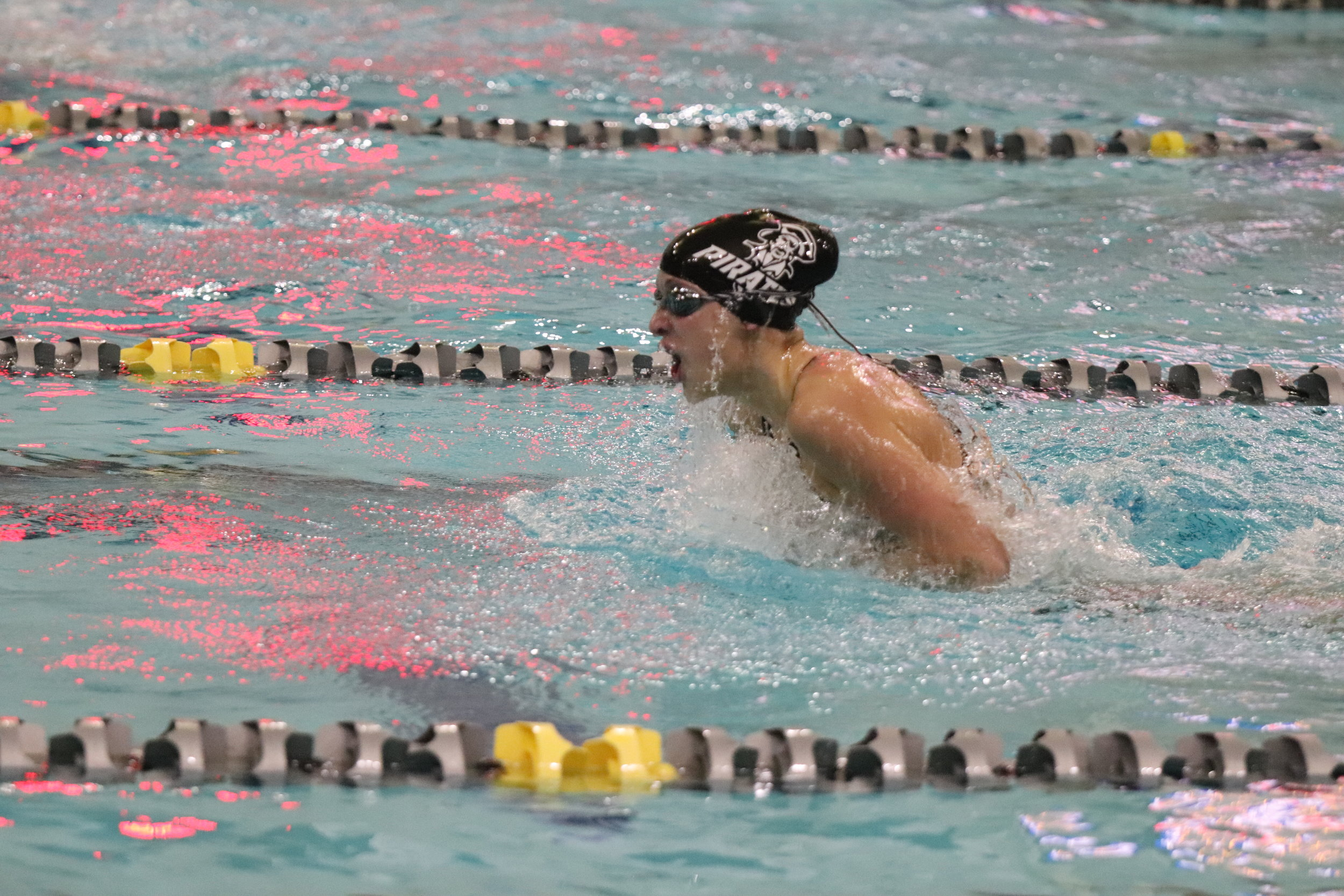 CODY THORN/Citizen photo Platte County's Maddie Klippenstein took 12th place in the 100-yard breaststroke. Here, she is show competing in the prelims on Friday, Feb. 15 at the St. Peters Rec-Plex in St. Peters, Mo. She is now a two-time consolation finalist for the Pirates.