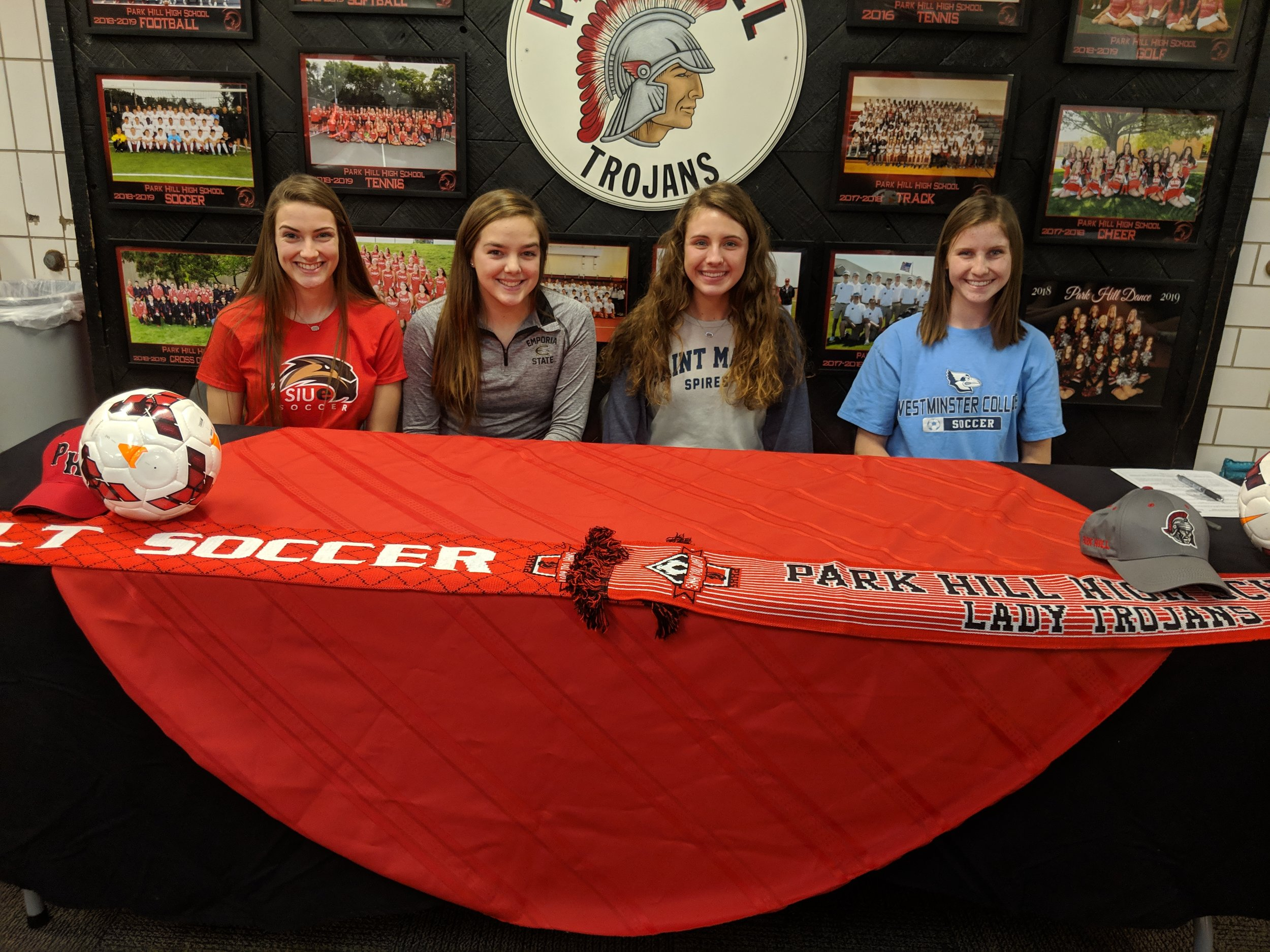 ADAM BURNS/Citizen photo  Park Hill soccer players, from left, Sarah Hibbler (SIU-Edwardsville), MacKenzie Sackuvich (Emporia State), Morgan Young (St. Mary) and Shannon Kauffman (Westminister) will all play at the collegiate level next year.