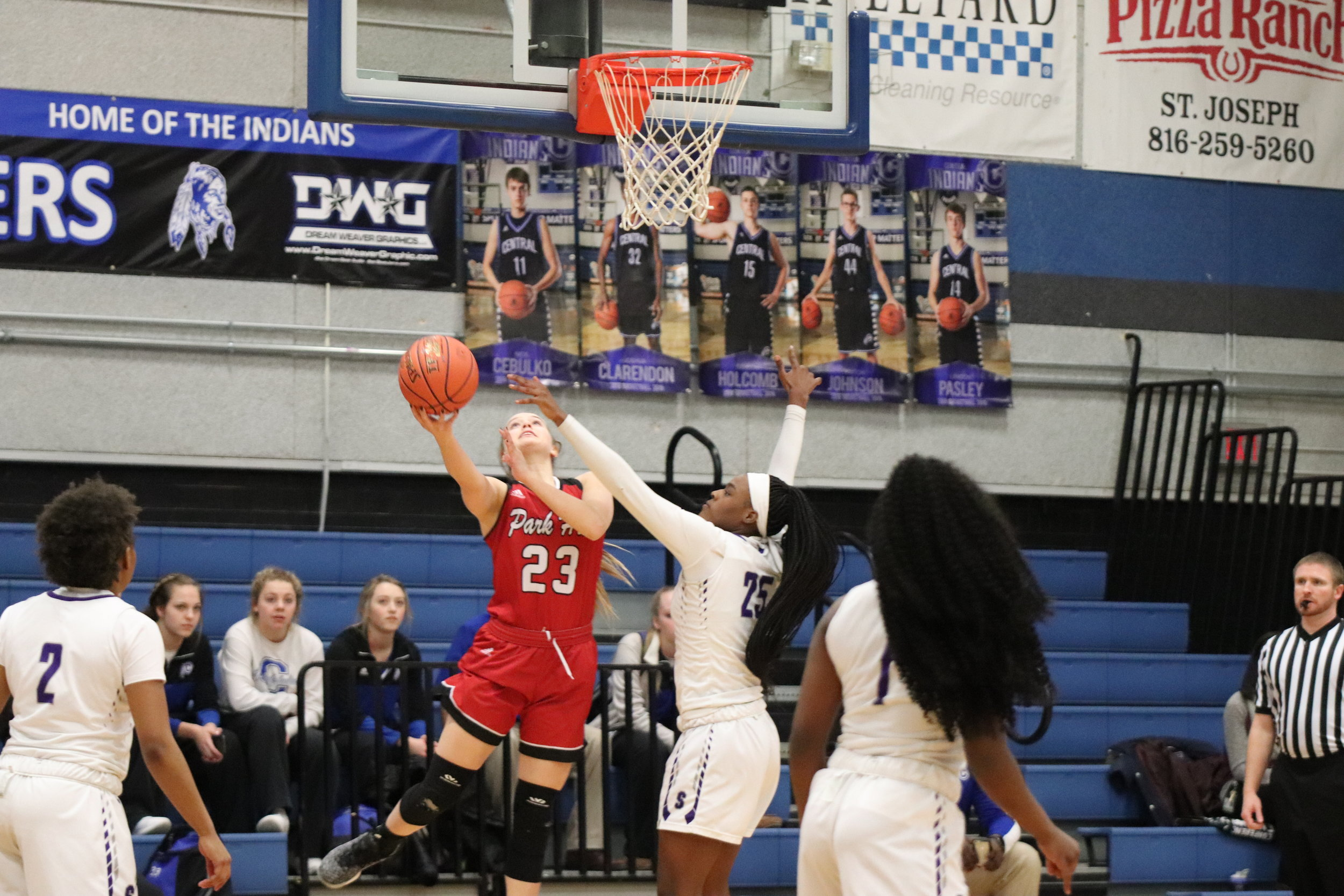CODY THORN/Citizen photo  Park Hill's Hannah Graves, left, goes up for layup while being defended by Park Hill South's Alecia Westbrook during a Class 5 District 16 game on Monday, Feb. 25 in Central High School in St. Joseph.