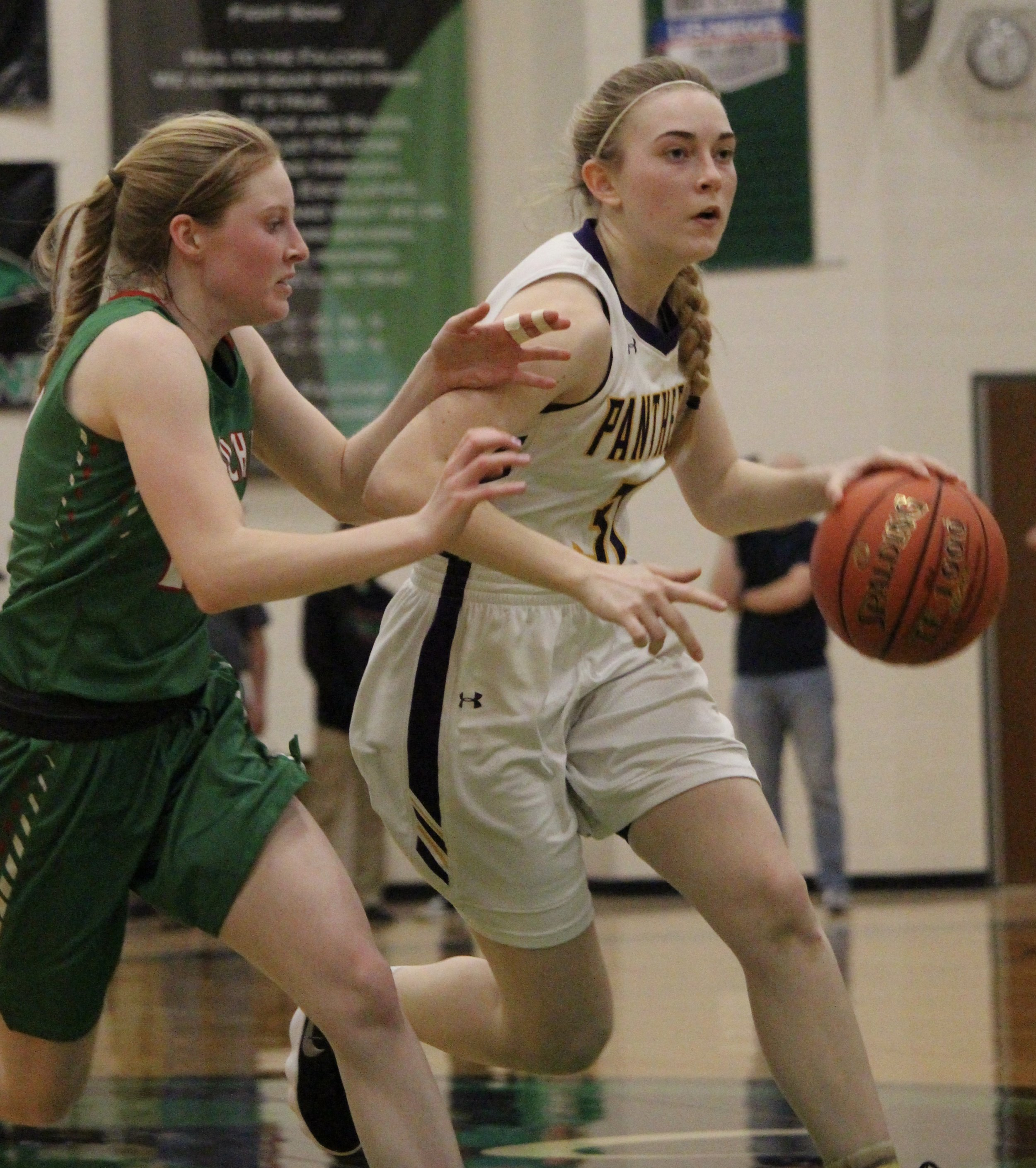 ROSS MARTIN/Special to the Citizen North Platte's Janell Manville, right, dribbles during a Class 2 playoff game against Mid-Buchanan at Staley High School on Feb. 27.