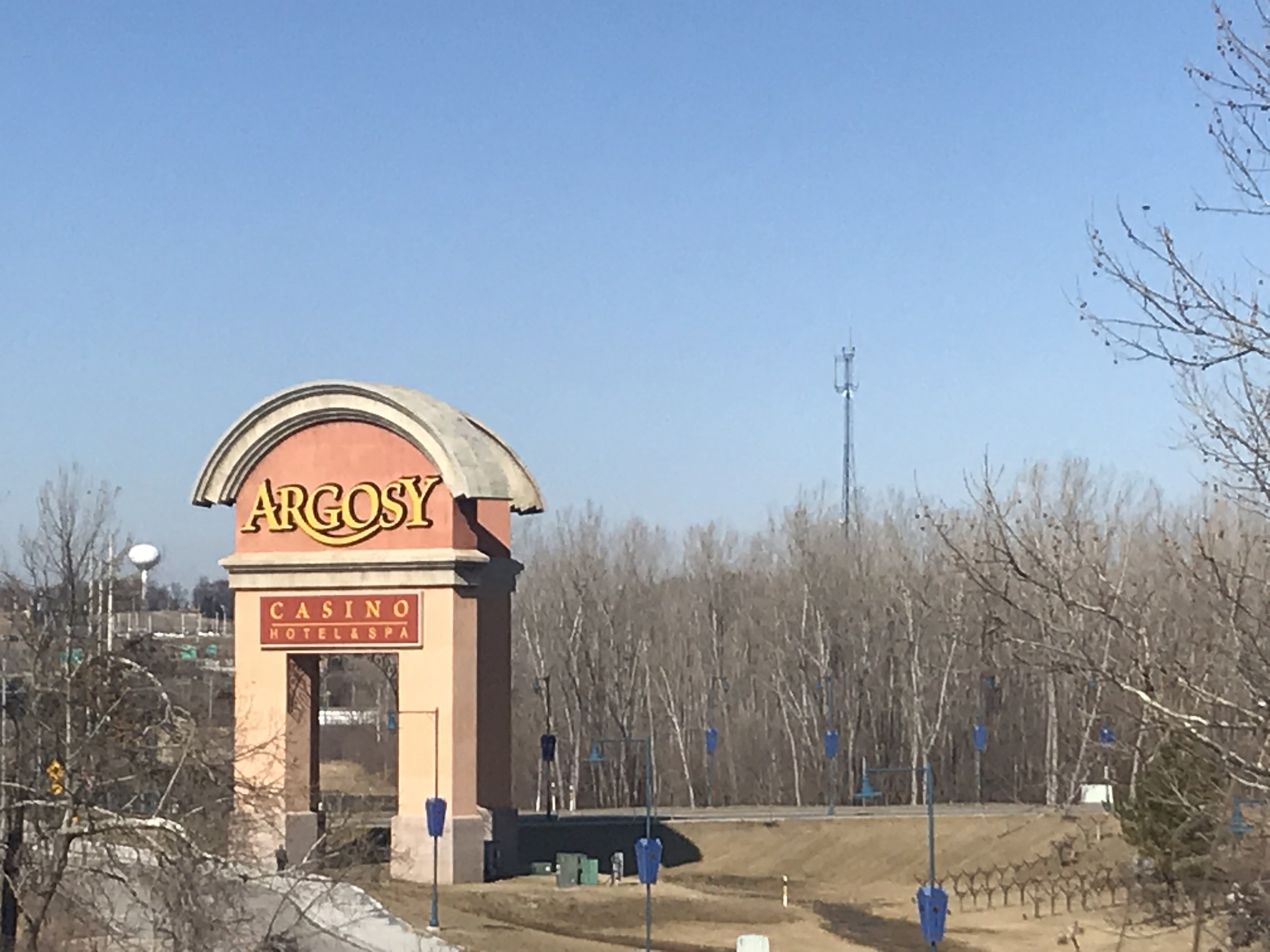 CODY THORN/Citizen photo Pictured is the Argosy Casino Hotel & Spa in Riverside entrance sign located of Interstate 635. It is the only casino in Platte County but proposals at the state level could extend gambling opportunities to places outside of river-tied casinos.