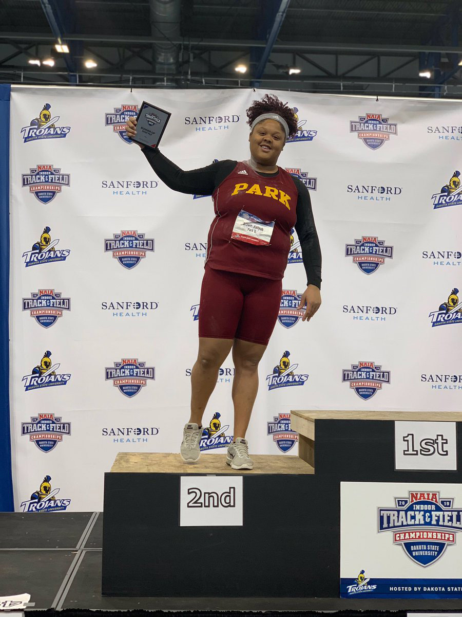 Park Athletics St. Louis native Aaliyah Brown was the runner-up in the shot put event at the NAIA Indoor Track and Field Championships on March 2.
