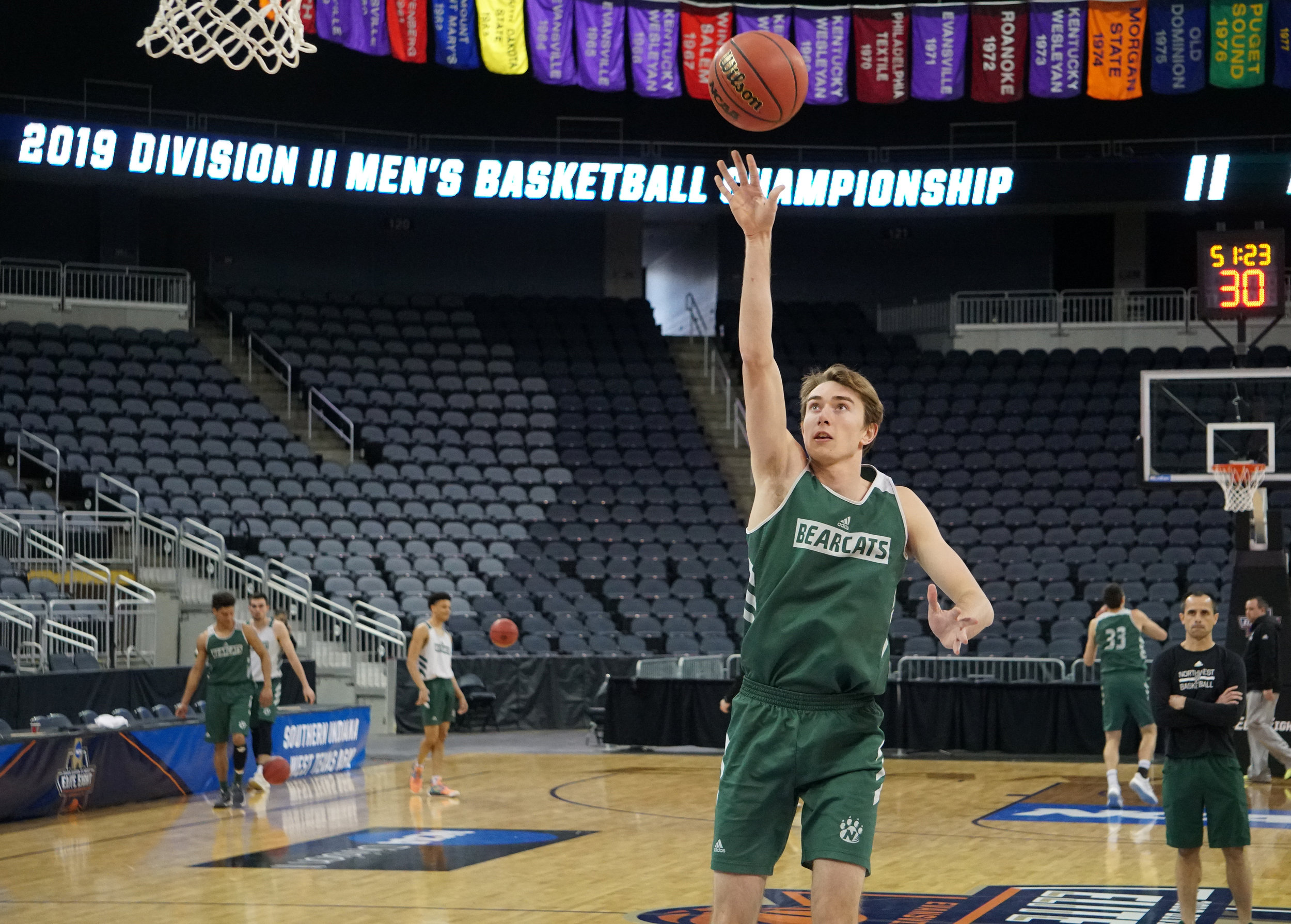 JON DYKSTRA/Maryville Daily Forum  Park Hill South graduate and Northwest Missouri State junior forward Ryan Welty puts up a shot during practice on Wednesday, March 27, at the Division II Elite Eight event in Evansville, Ind.