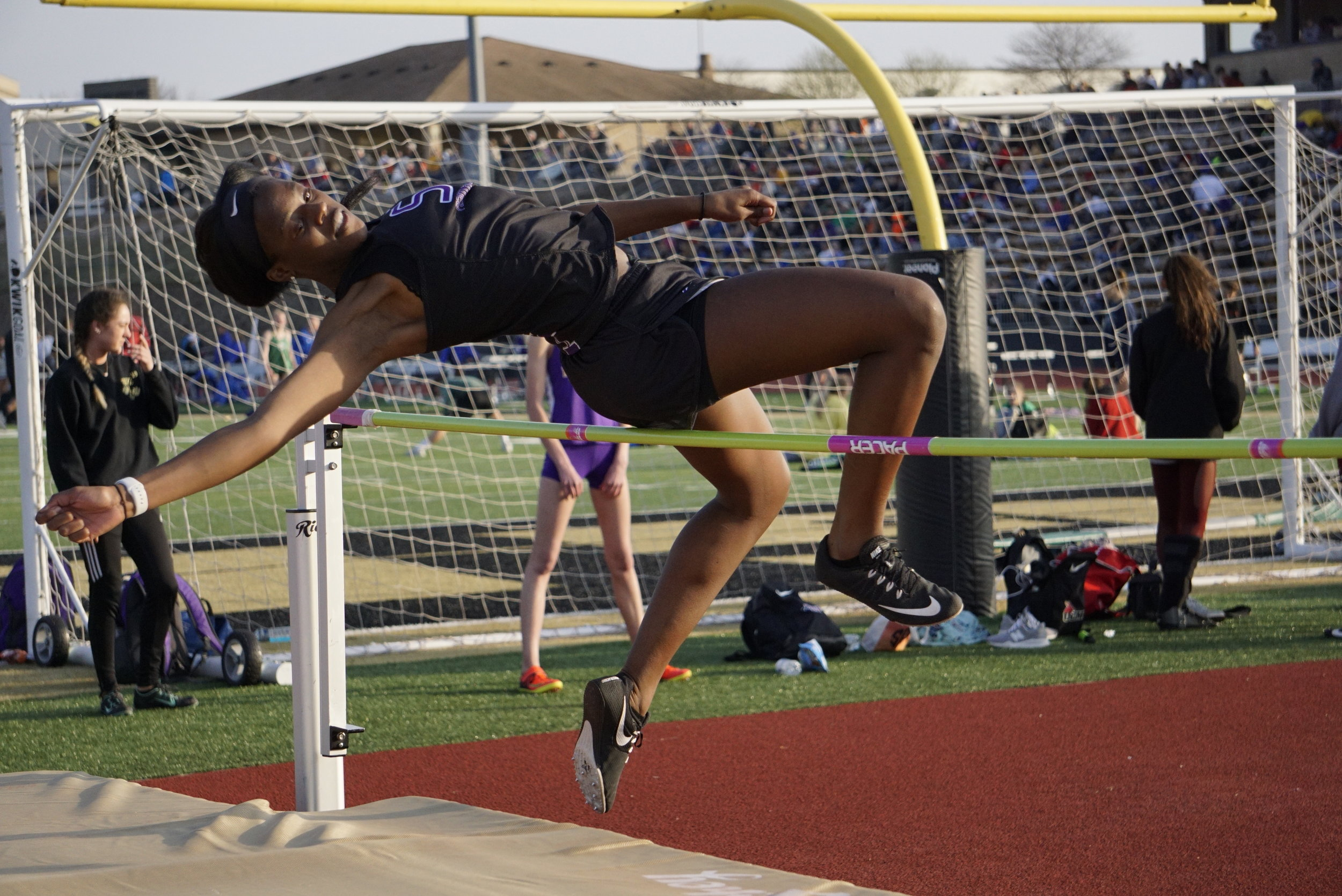 DEREK BRIZEDINE/Kearney Courier-Tribune  Park Hill South's Alecia Westbrook won the high jump competition with a leap of 5 feet, 2 inches during the Kearney Invitational held on Friday, April 5 at Excelsior Springs High School due to construction at Kearney High School.