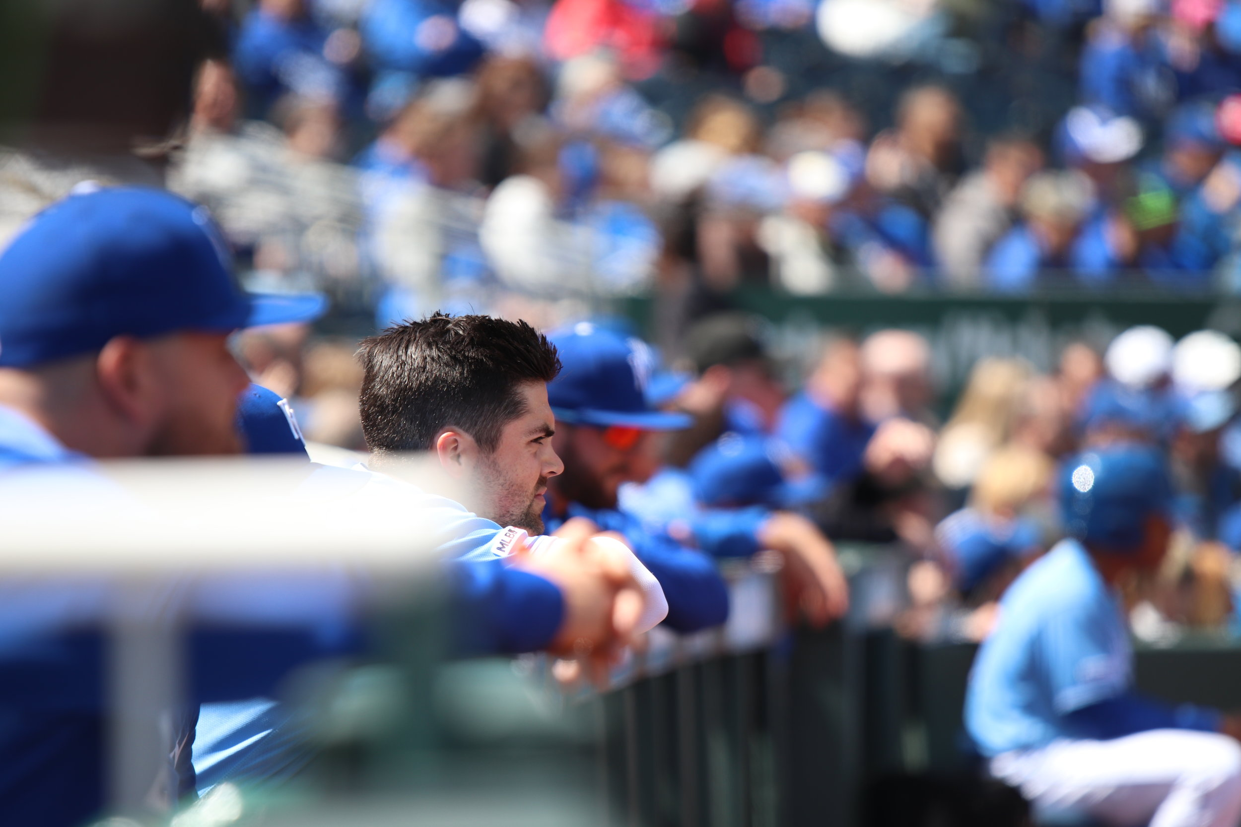 CODY THORN/Citizen photo Kansas City Royals outfielder Whit Merrifield watches from the dugout during a game against the Seattle Mariners on Thursday, April 11 at Kauffman Stadium in Kansas City.