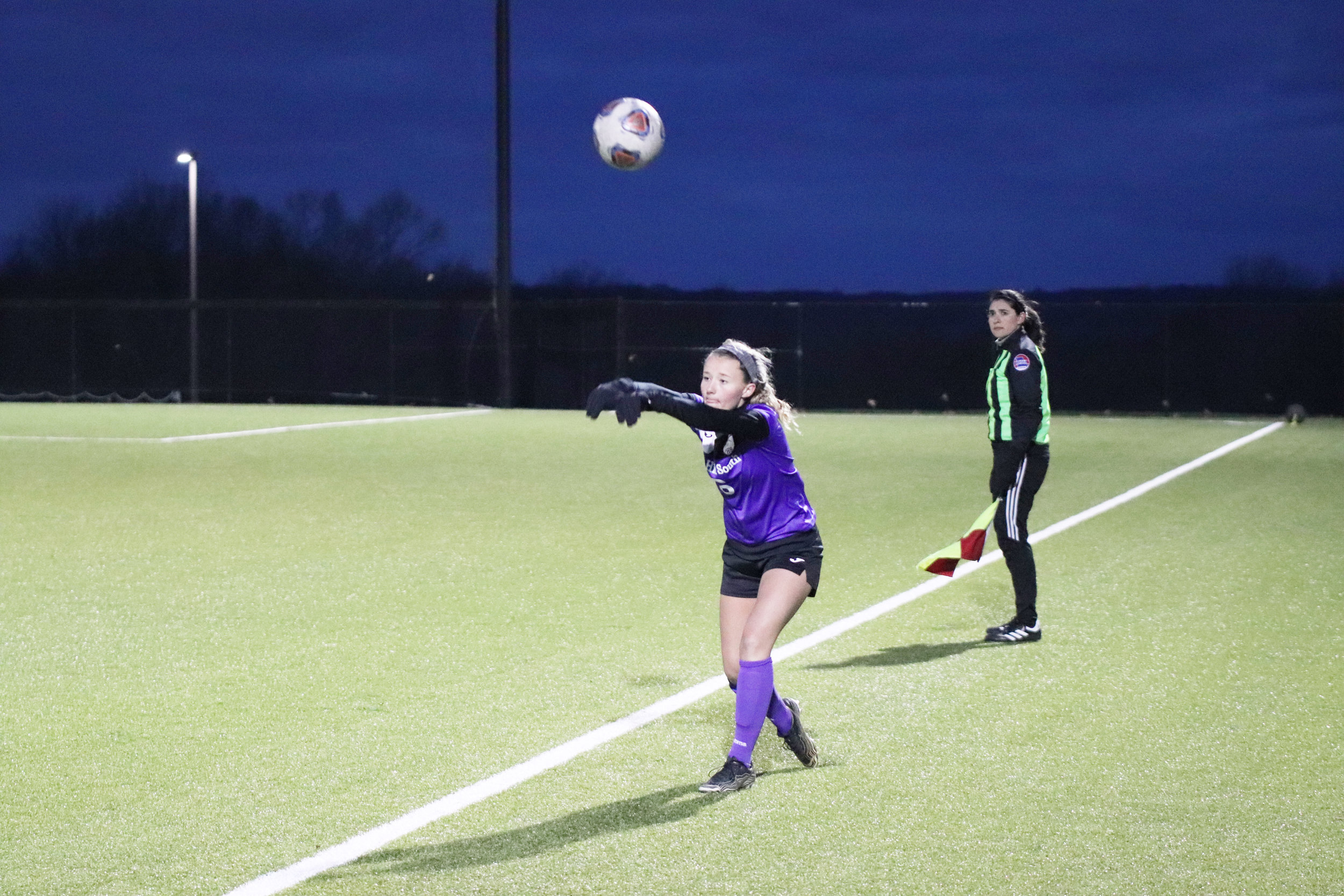 CODY THORN/Citizen photo  Park Hill South's Payton Miller handles a throw-in against Truman on Thursday, April 11 at the Park Hill School District Soccer Complex in Riverside.