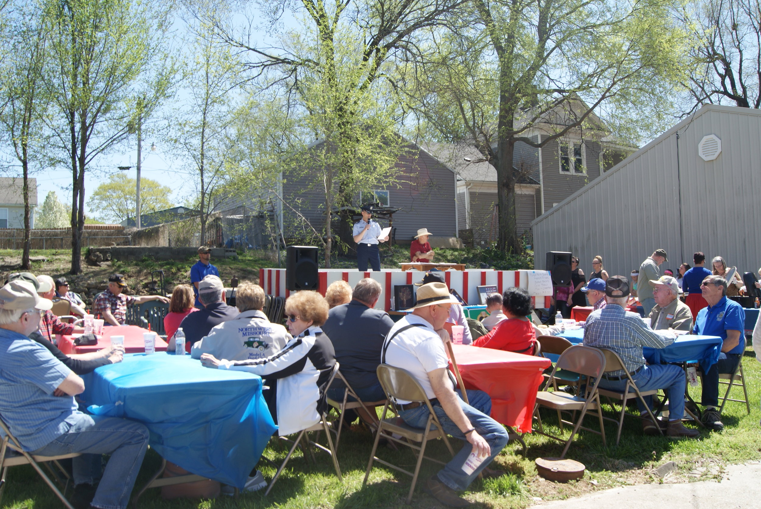 MICHAEL CRIPE/Special to the Citizen Air National Guard Colonel Byron B. Newell spoke during an event on Saturday, April 20, where Dearborn became a Purple Heart City. That was in conjunction with a veteran's recognition and parade.
