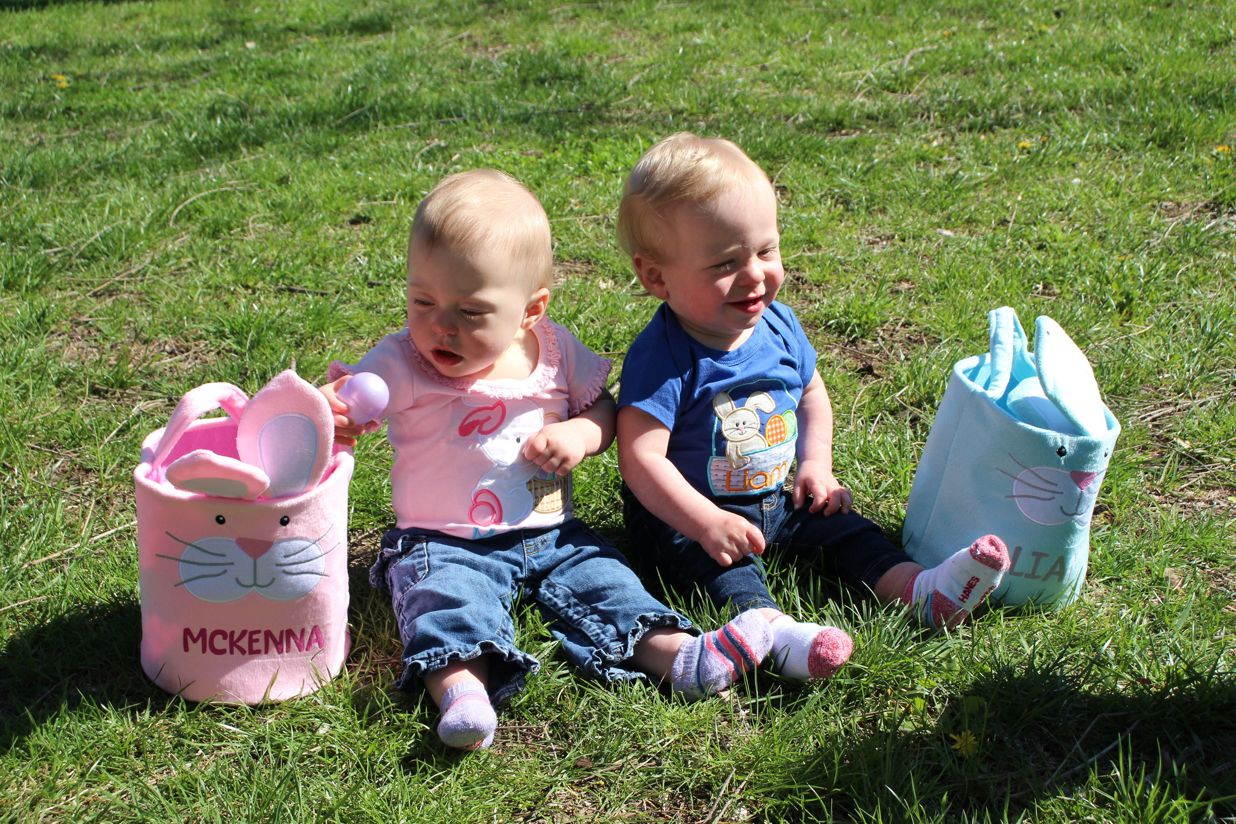 Twins McKenna and Liam Fisher, 1, of Riverside, enjoyed their first Easter egg hunt at the City of Riverside's event held Saturday, April 20 at Renner Brenner Park. Hundreds of children enjoyed the warm weather and sprinted to hunt eggs. Riverside mayor Kathy Rose acted as master of ceremonies and the event featured tours of a Riverside fire truck and visits with the Easter Bunny. The event was moved to Renner Brenner Park due to flooding and construction work at E.H. Young Riverfront Park. JEANETTE FAUBION/Citizen photos