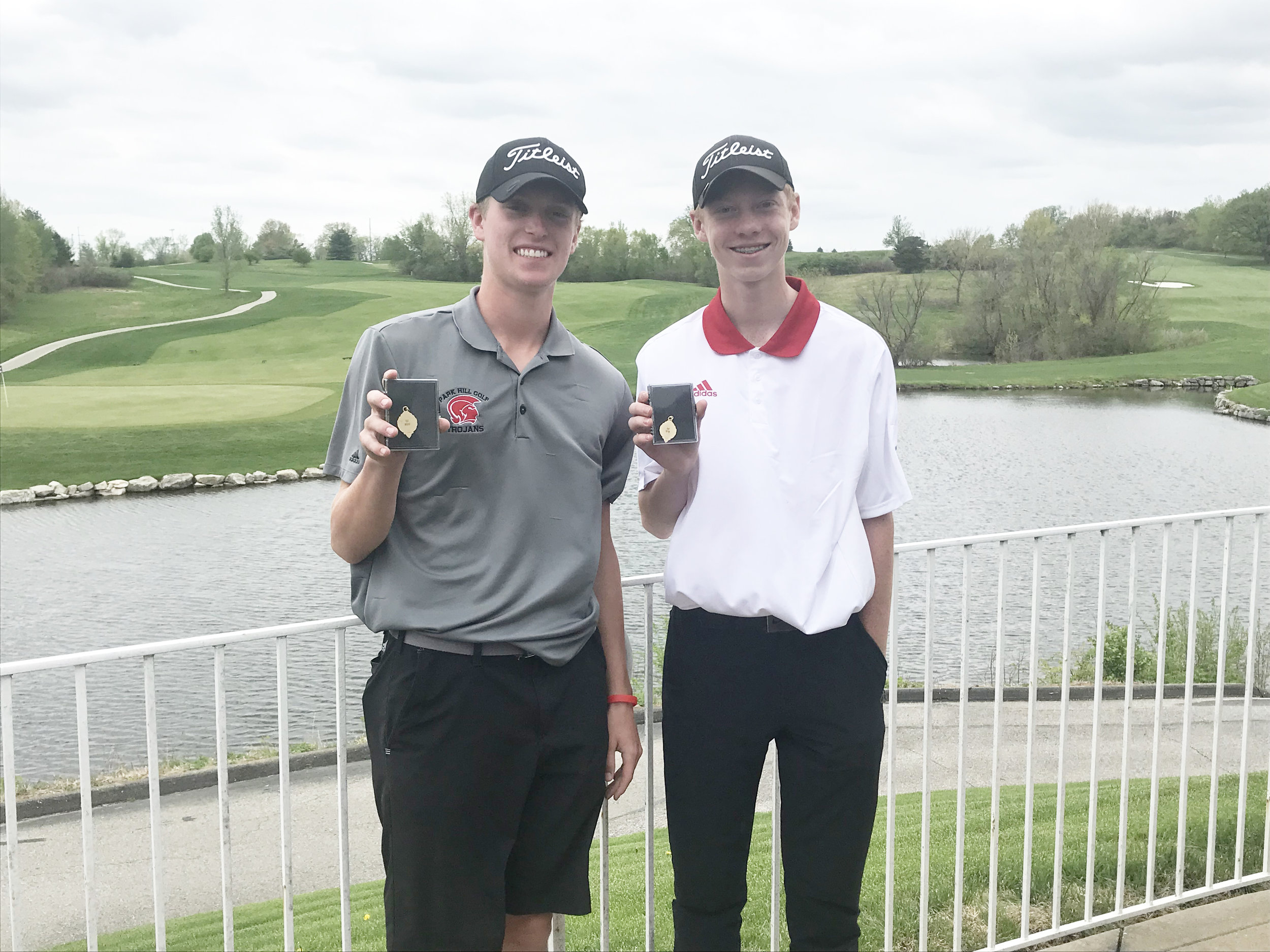 Submitted photo Park Hill's Ryan Graves, left, and Grant Schumacher, right, earned all-conference medals from the Suburban Conference Gold Division championship held on Monday, April 22 at Adams Pointe Golf Course in Blue Springs. Graves won the title after a tiebreaker.