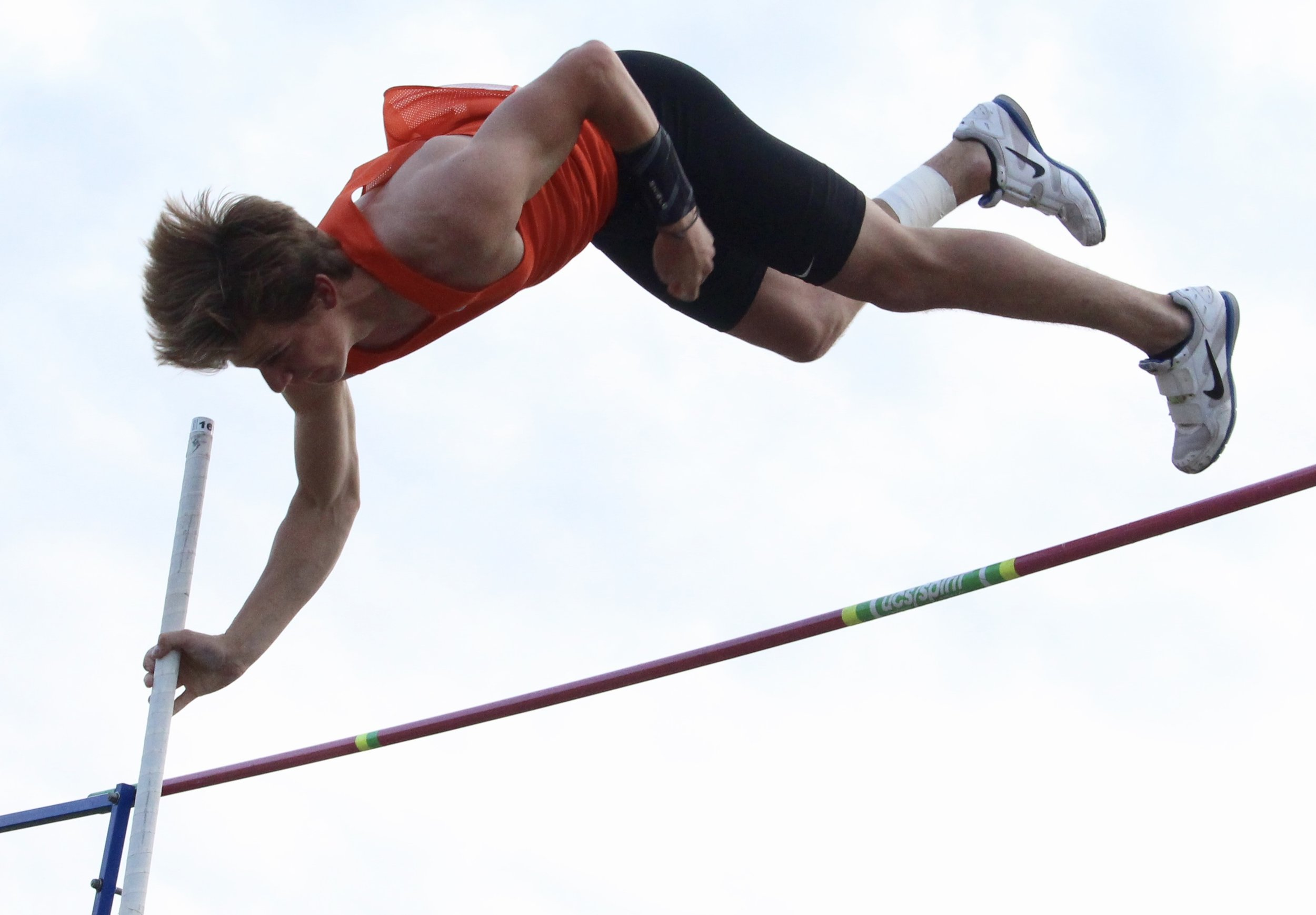 ROSS MARTIN/Special to the Citizen Platte County's Jacob Laures jumped 15 feet during the pole vault event to break the school record on Friday, April 26 in the Platte County Invitational at Pirate Stadium. Laures, a senior, broke the previous mark of 14-10, held by former teammate Bryce Bearden.
