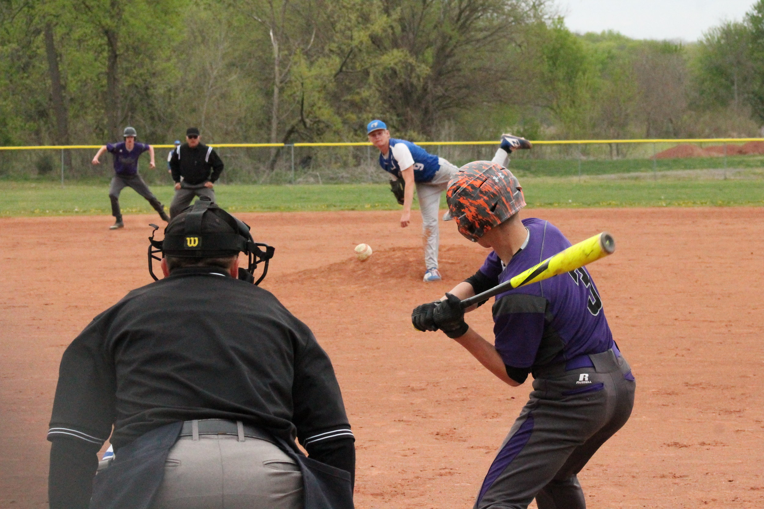 BREANNA CHEADLE/Citizen photo West Platte's Wyatt Kleman delivers a pitch home to North Platte batter Matrix Large during a game on Tuesday, April 23 in Dearborn. West Platte won the KCI Conference game, 9-5.