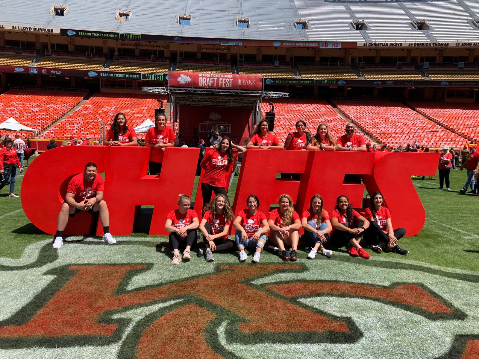 Submitted photo The Park volleyball team and coaching staff posed for a photo during the Kansas City Chiefs second annual draft fest, which was sponsored by Park University on Saturday, April 27 at Arrowhead Stadium.