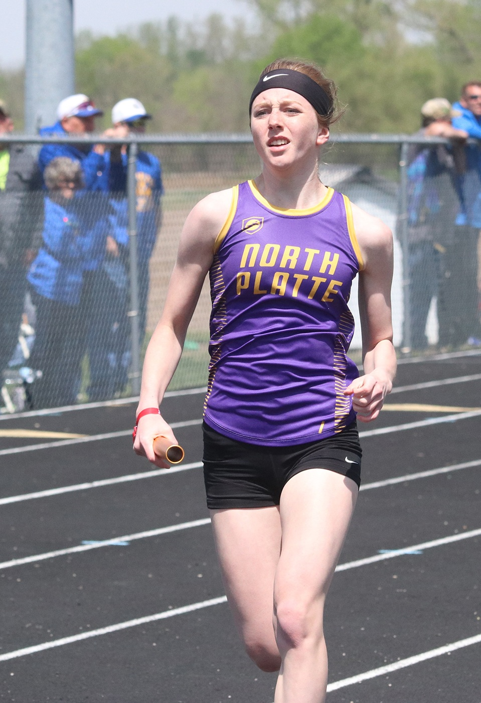 CLINTON COUNTY LEADER North Platte's Haley Sampson was part of a 4x200-meter relay team that won a KCI Conference championship on Saturday, April 27.