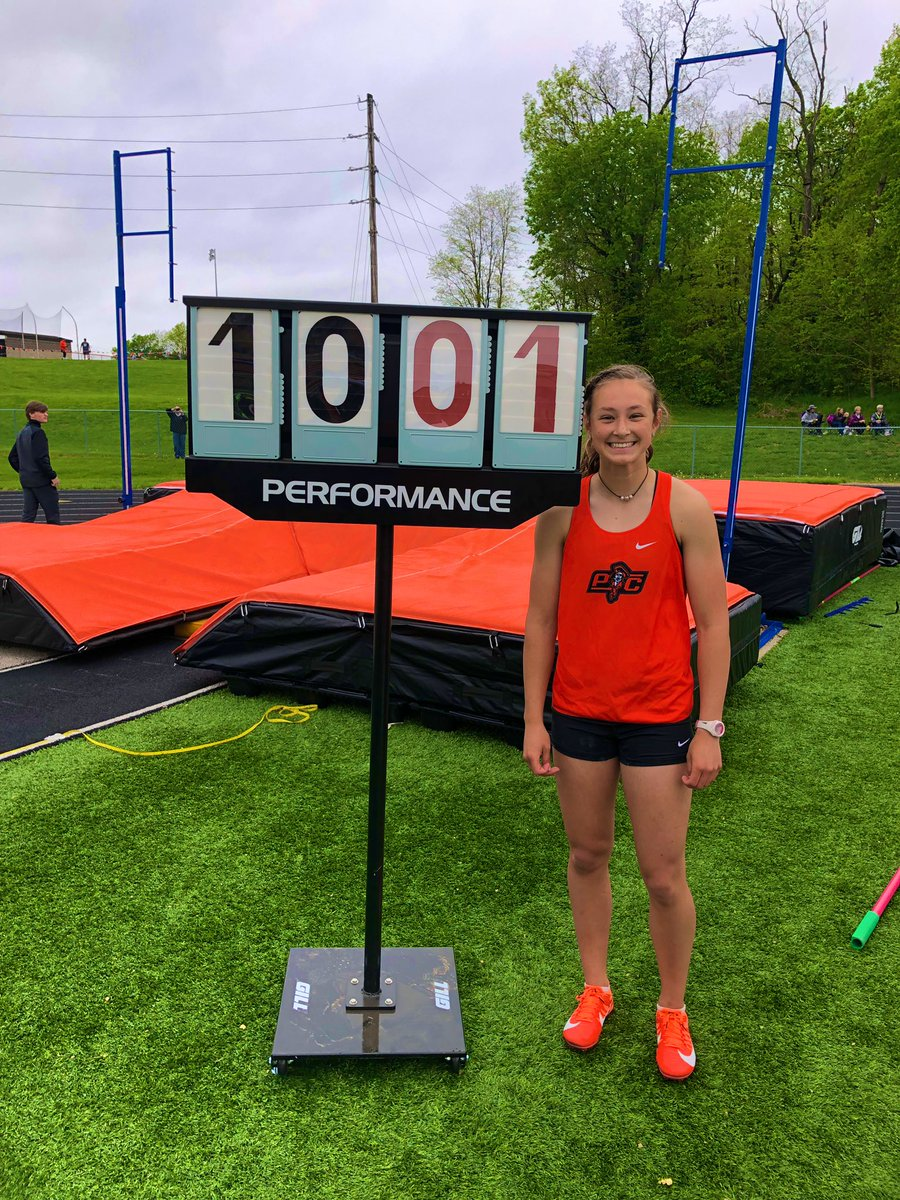 Submitted photo  Platte County's Abbie Schwieder won the Suburban Conference Blue Division pole vault championship and broke a school record in the process on Wednesday, May 1 at Pirate Stadium.